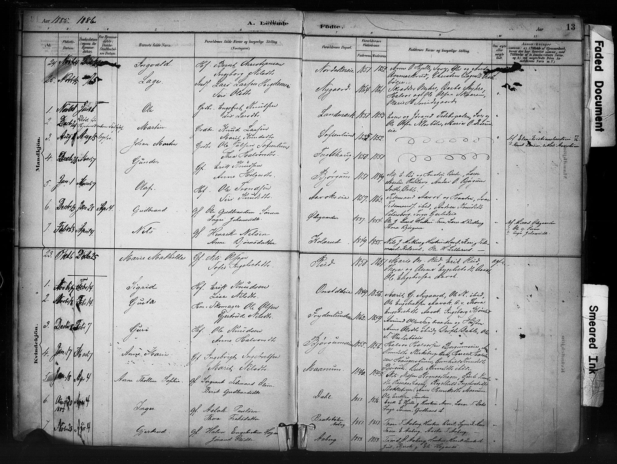 SAH, Nord-Aurdal prestekontor, Ministerialbok nr. 13, 1883-1895, s. 13