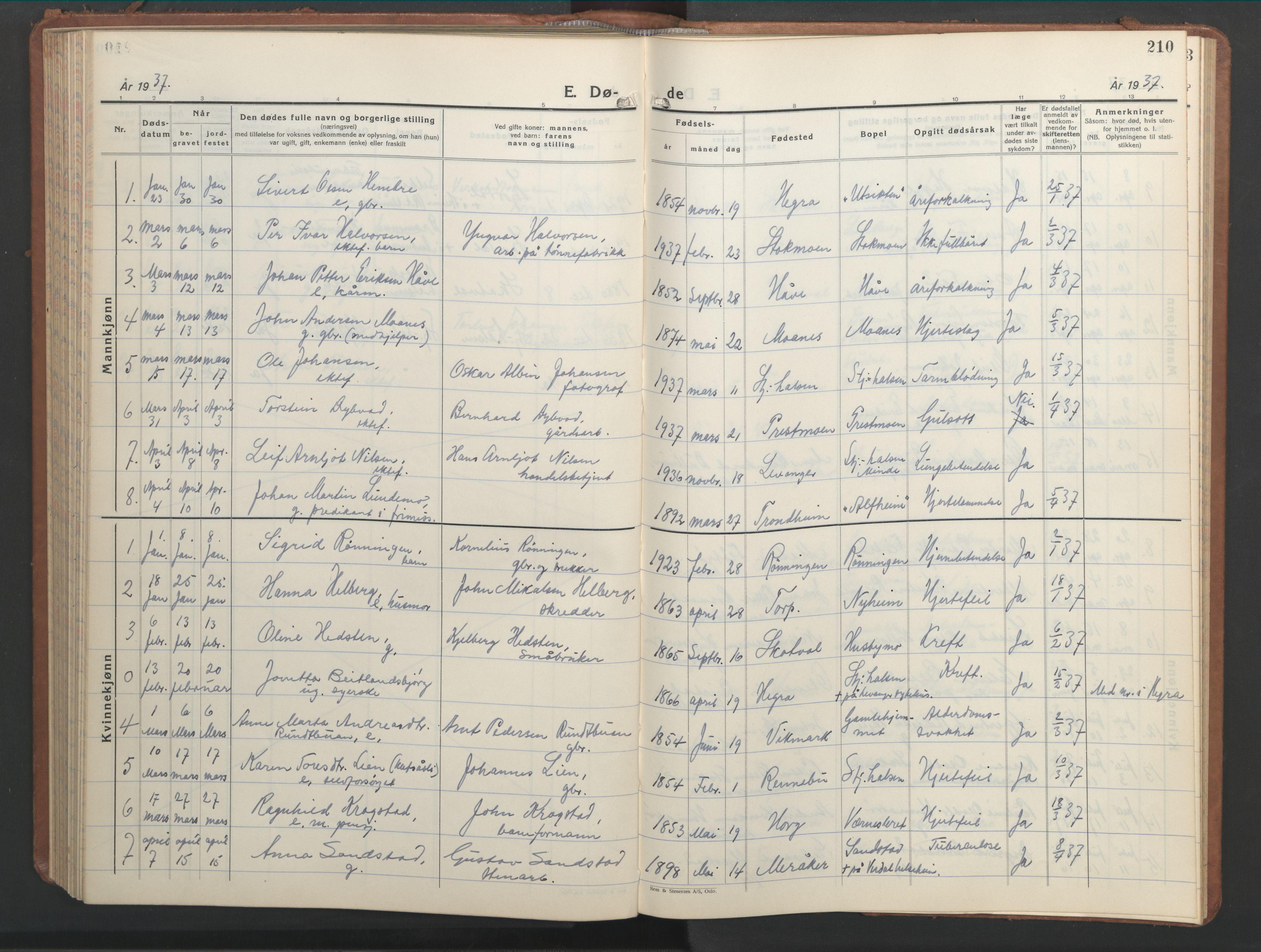 SAT, Ministerialprotokoller, klokkerbøker og fødselsregistre - Nord-Trøndelag, 709/L0089: Klokkerbok nr. 709C03, 1935-1948, s. 210