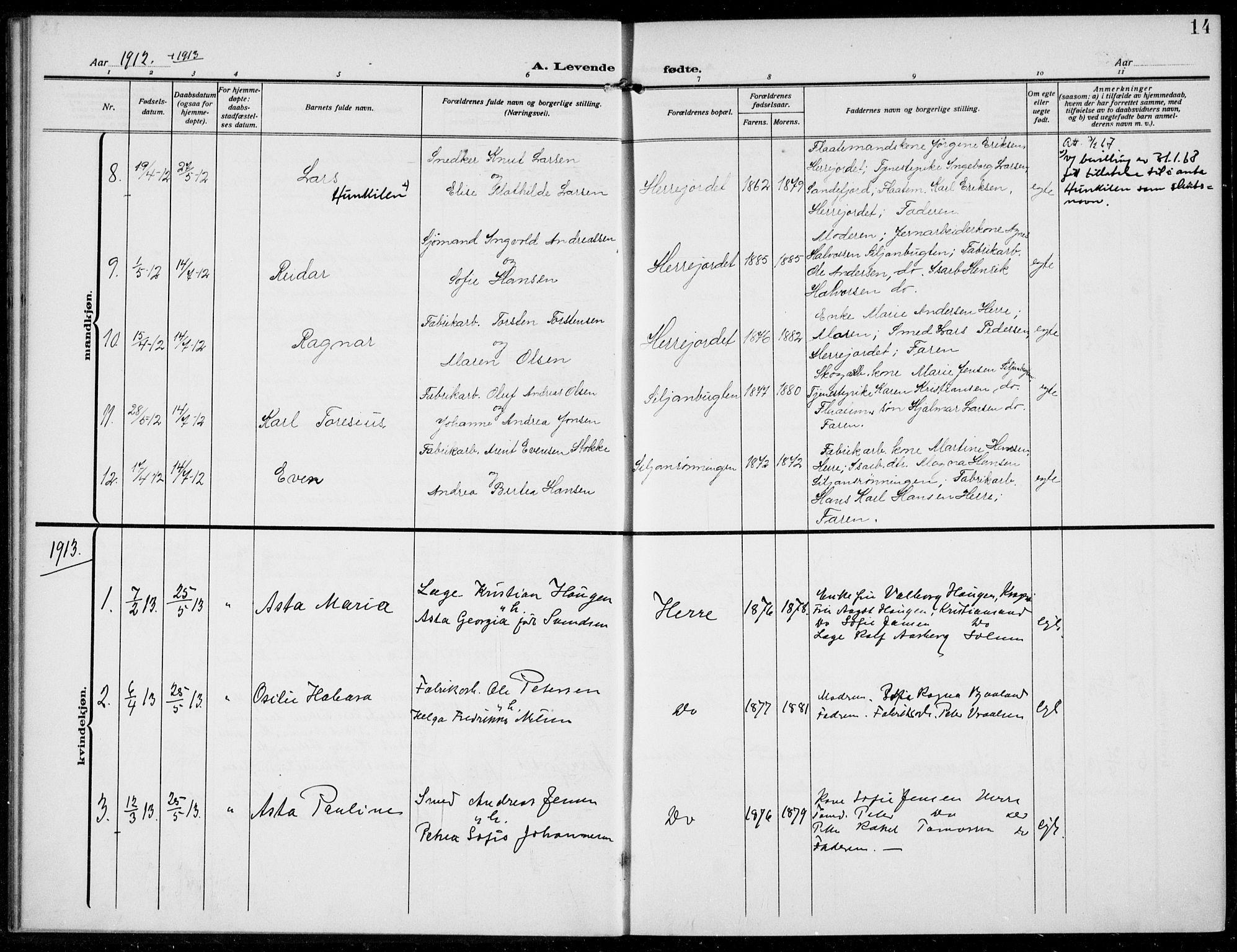 SAKO, Bamble kirkebøker, F/Fc/L0001: Ministerialbok nr. III 1, 1909-1916, s. 14