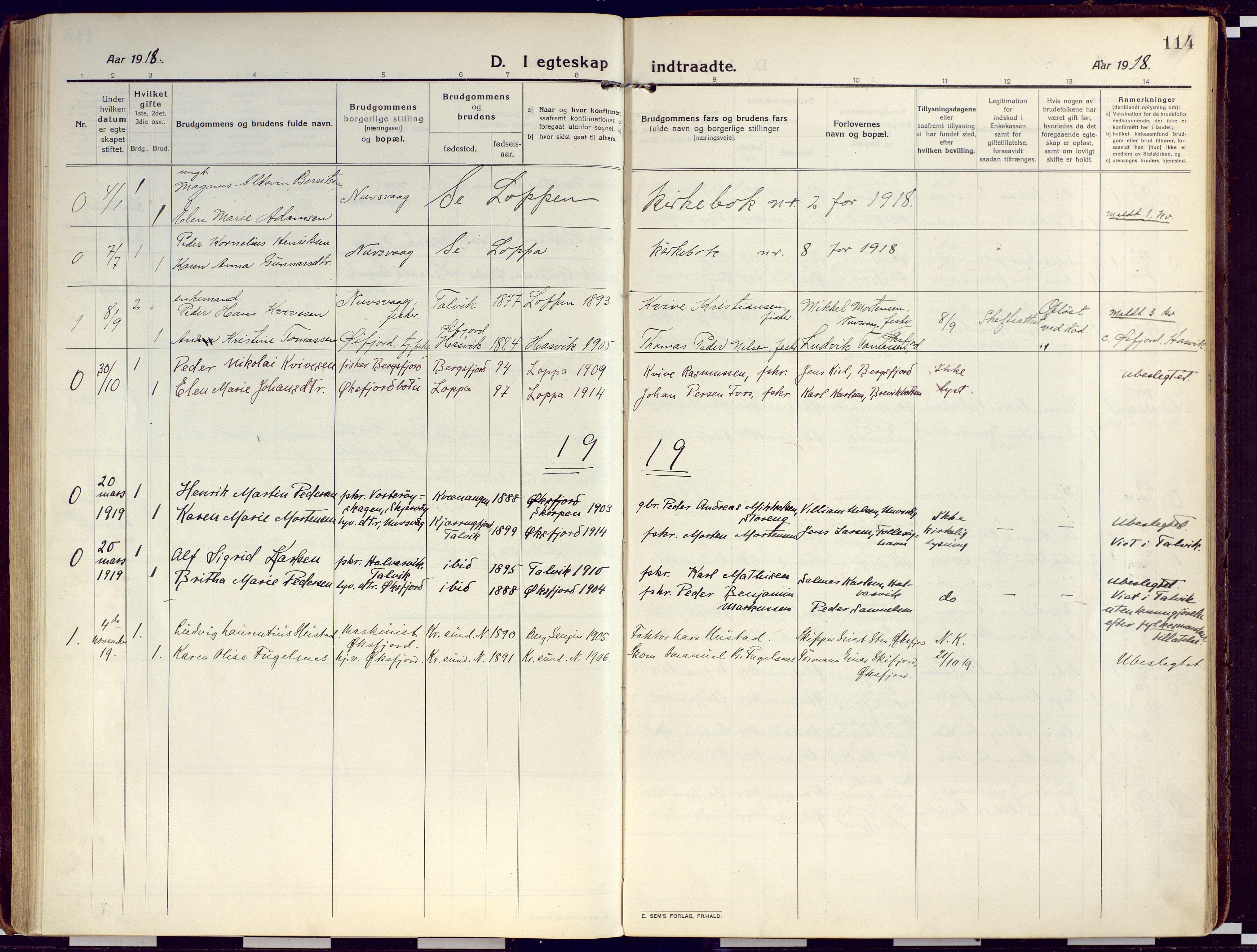 SATØ, Loppa sokneprestkontor, H/Ha/L0012kirke: Ministerialbok nr. 12, 1917-1932, s. 114
