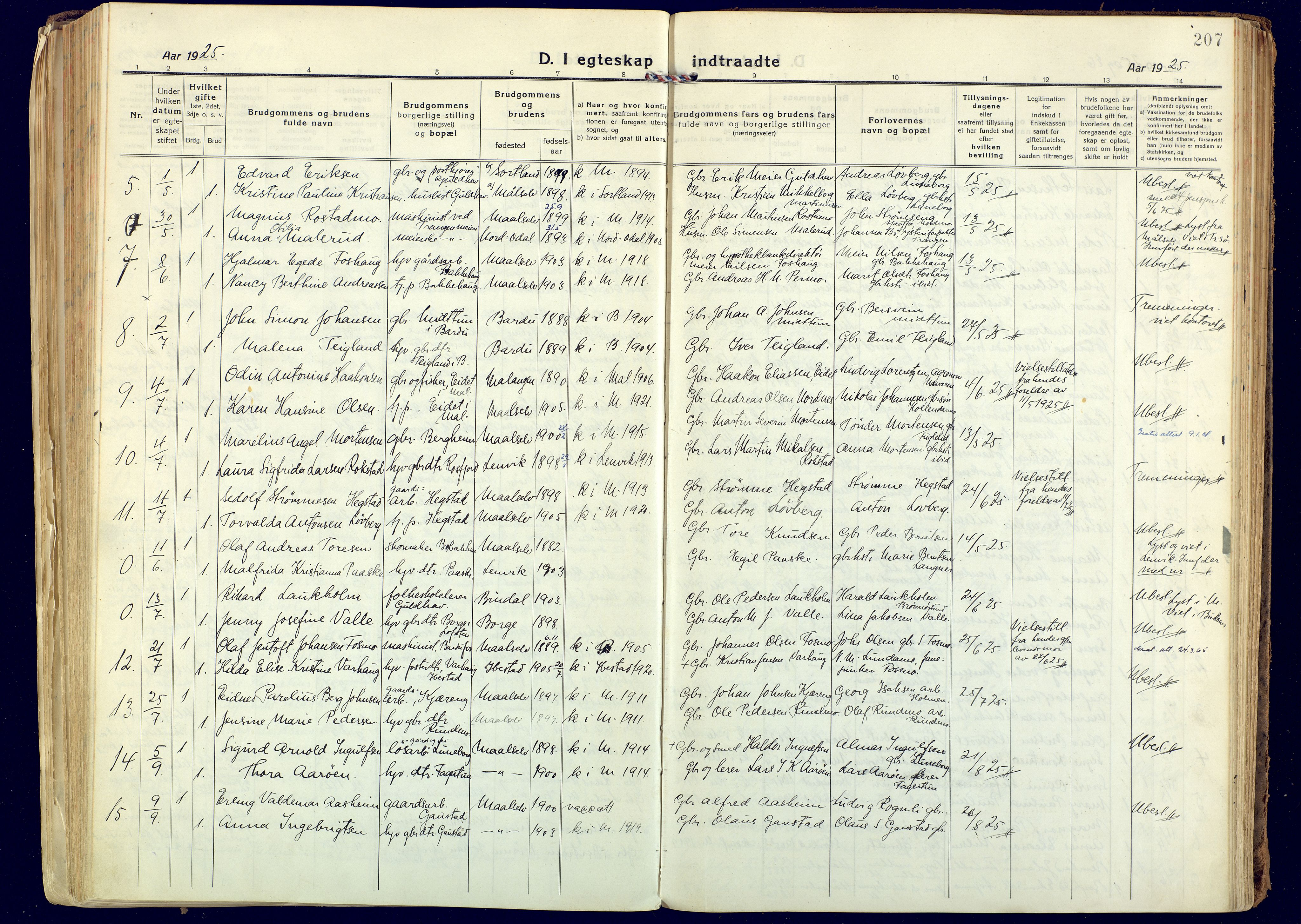 SATØ, Målselv sokneprestembete, Ministerialbok nr. 14, 1919-1932, s. 207