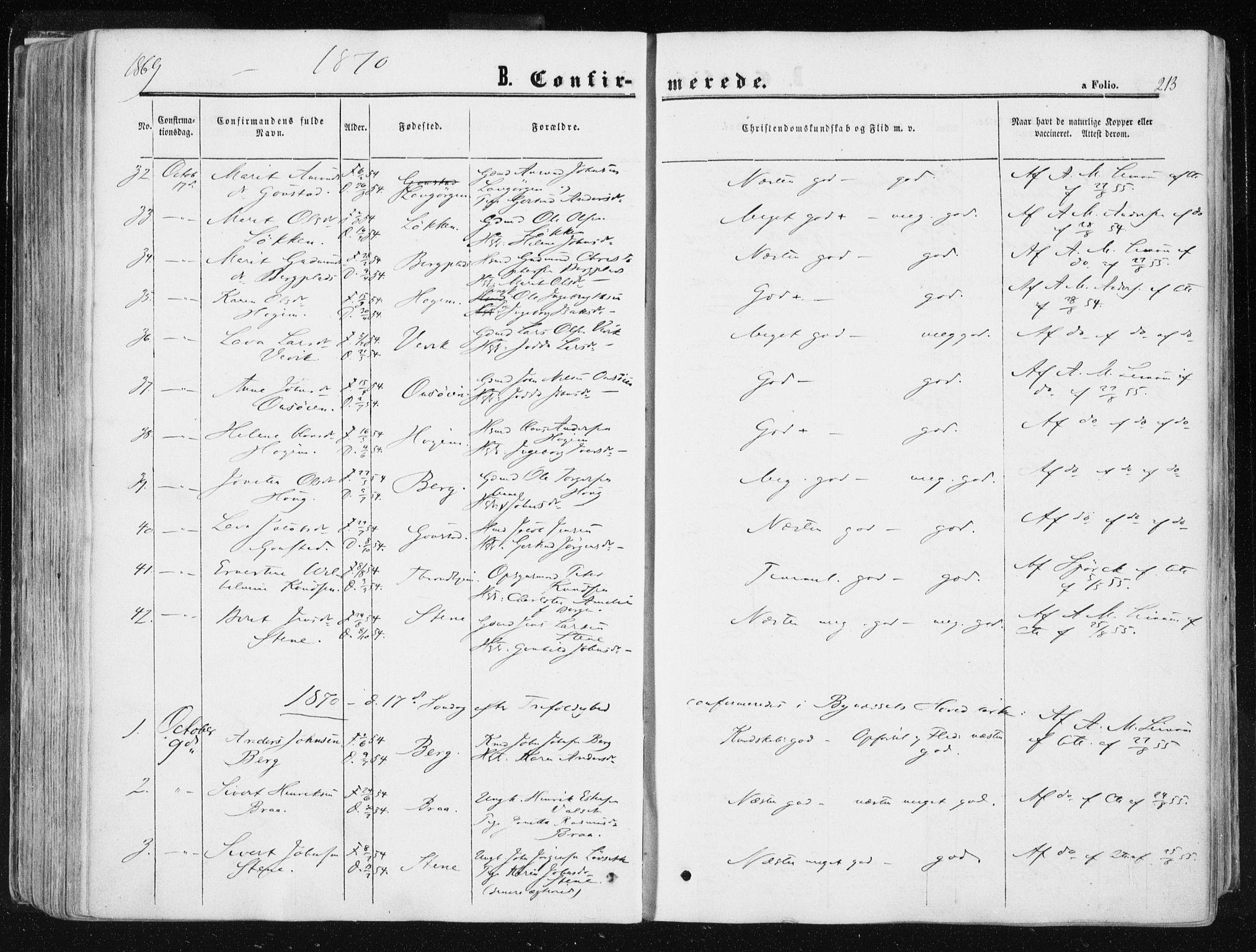 SAT, Ministerialprotokoller, klokkerbøker og fødselsregistre - Sør-Trøndelag, 612/L0377: Ministerialbok nr. 612A09, 1859-1877, s. 213