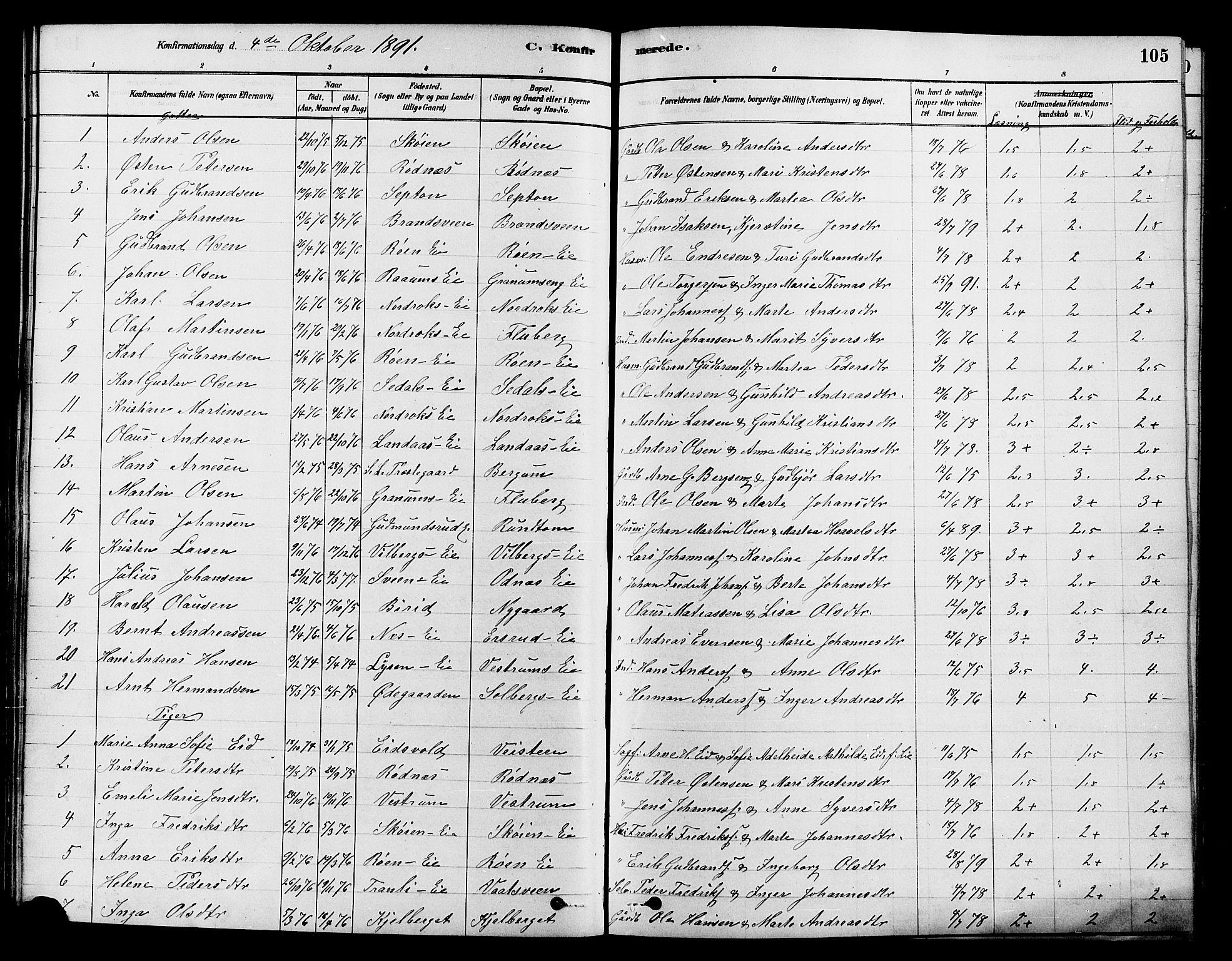 SAH, Søndre Land prestekontor, K/L0002: Ministerialbok nr. 2, 1878-1894, s. 105