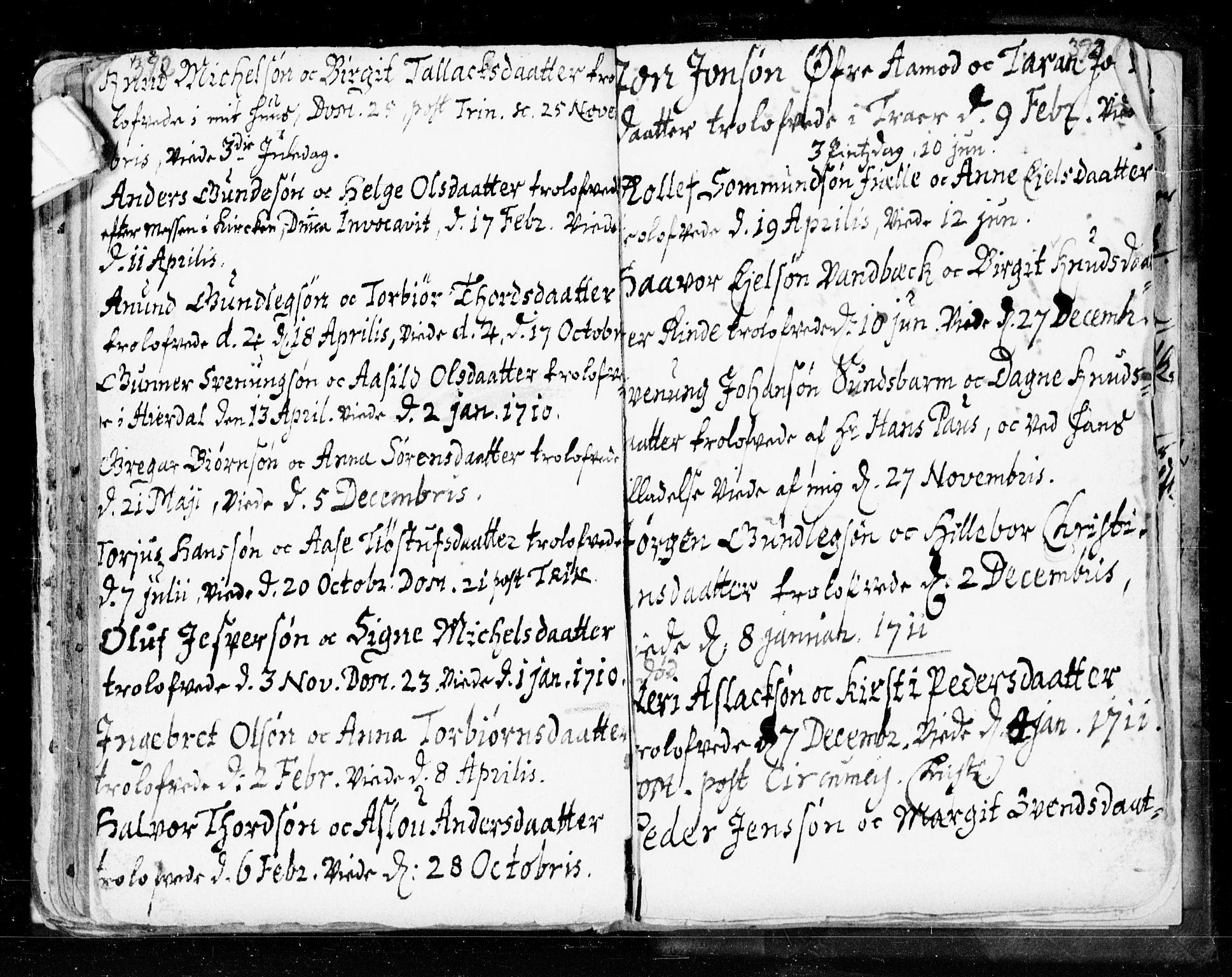 SAKO, Seljord kirkebøker, F/Fa/L0002: Ministerialbok nr. I 2, 1689-1713, s. 392-393