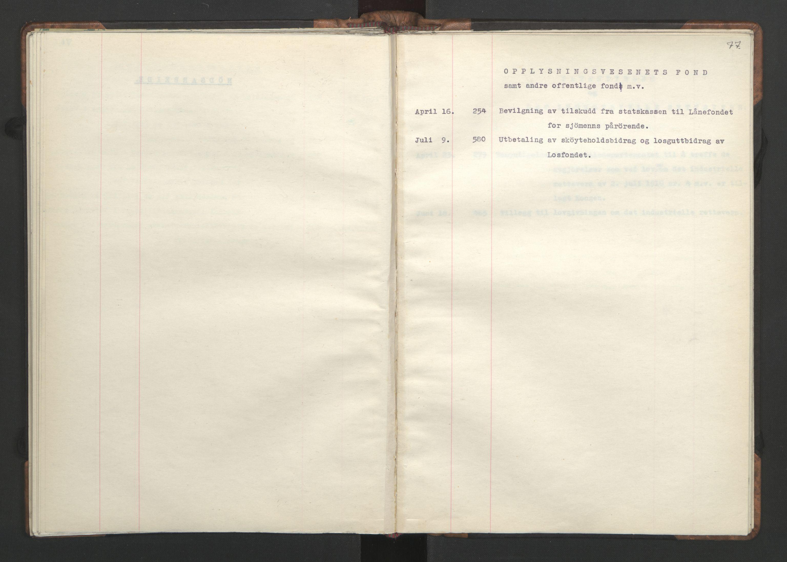 RA, NS-administrasjonen 1940-1945 (Statsrådsekretariatet, de kommisariske statsråder mm), D/Da/L0002: Register (RA j.nr. 985/1943, tilgangsnr. 17/1943), 1942, s. 76b-77a