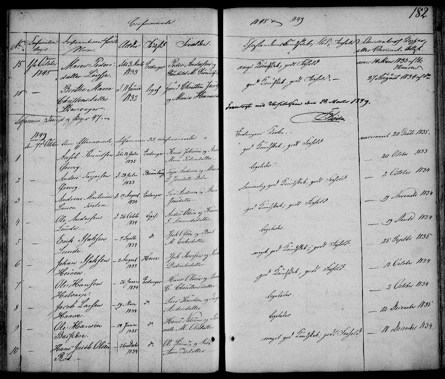 SAKO, Eidanger kirkebøker, F/Fa/L0008: Ministerialbok nr. 8, 1831-1858, s. 182