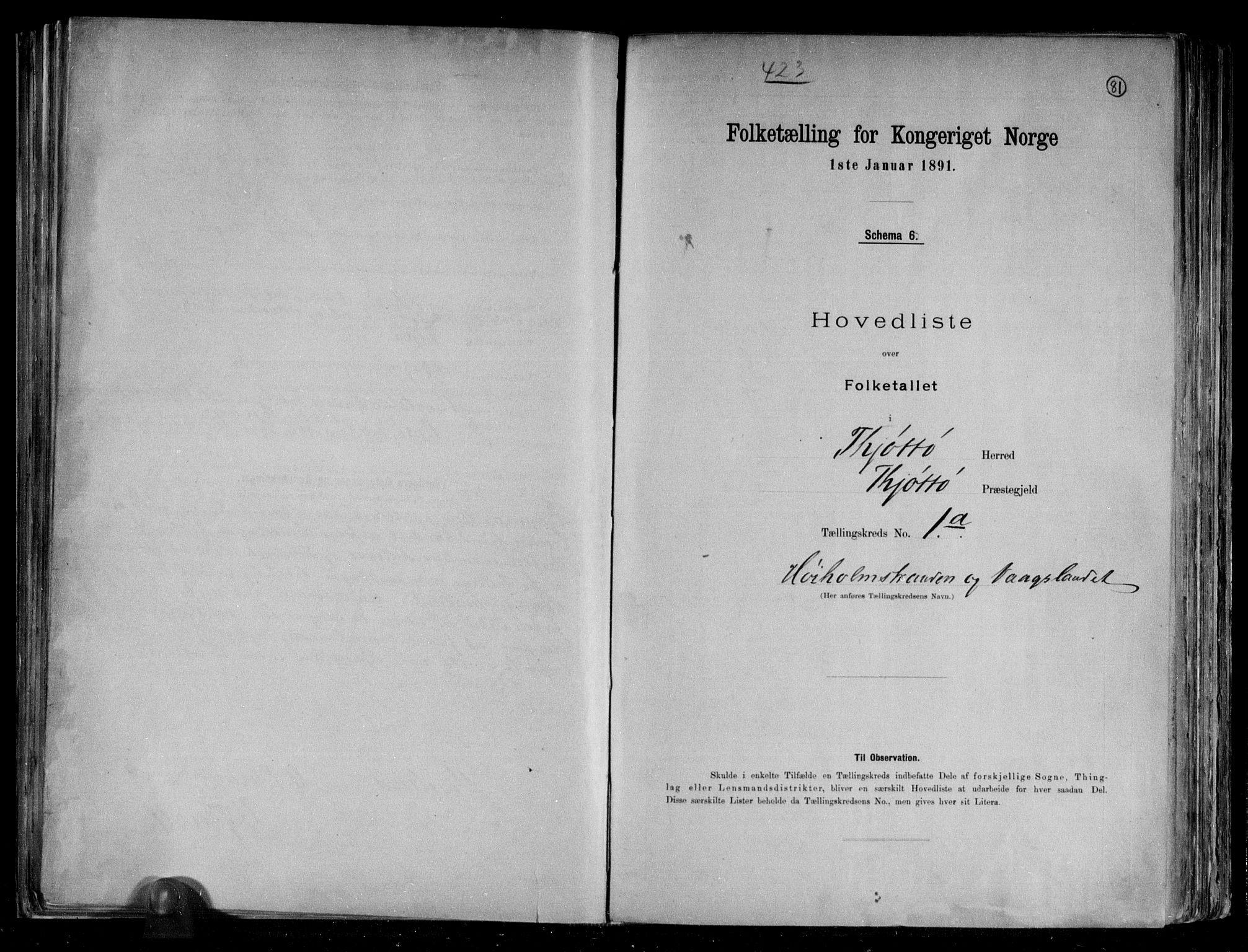 RA, Folketelling 1891 for 1817 Tjøtta herred, 1891, s. 5