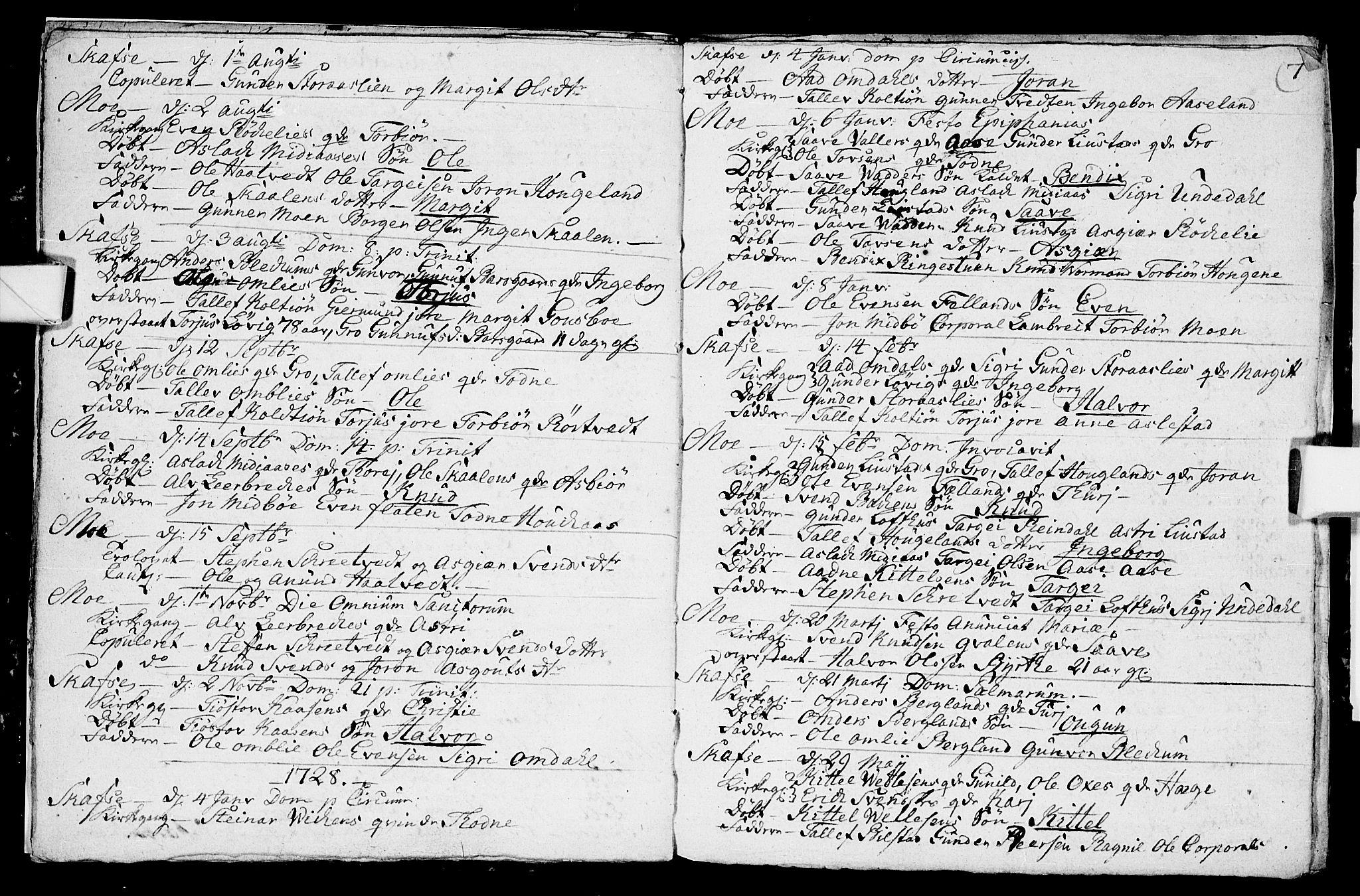 SAKO, Mo kirkebøker, F/Fa/L0001: Ministerialbok nr. I 1, 1724-1748, s. 7