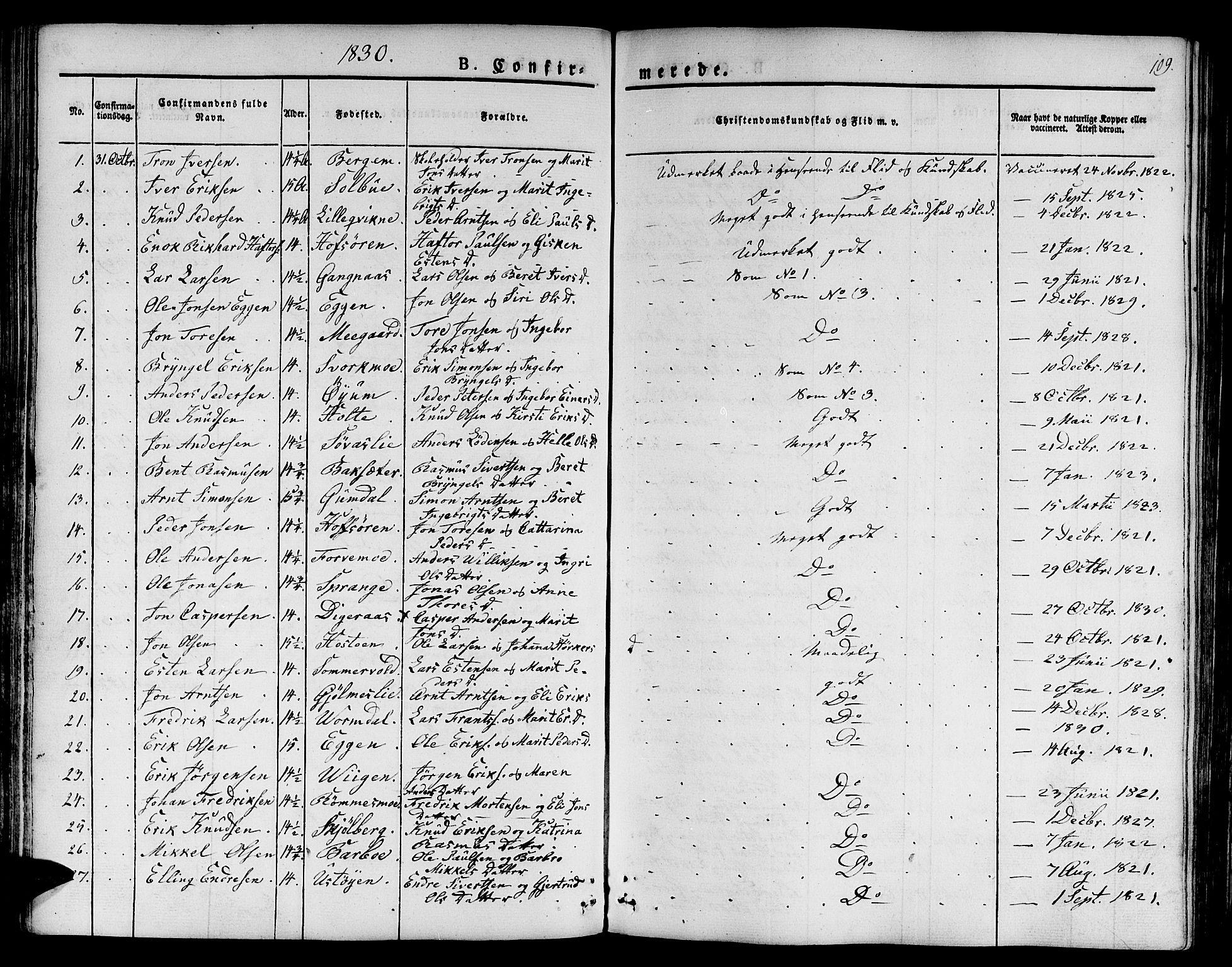 SAT, Ministerialprotokoller, klokkerbøker og fødselsregistre - Sør-Trøndelag, 668/L0804: Ministerialbok nr. 668A04, 1826-1839, s. 109