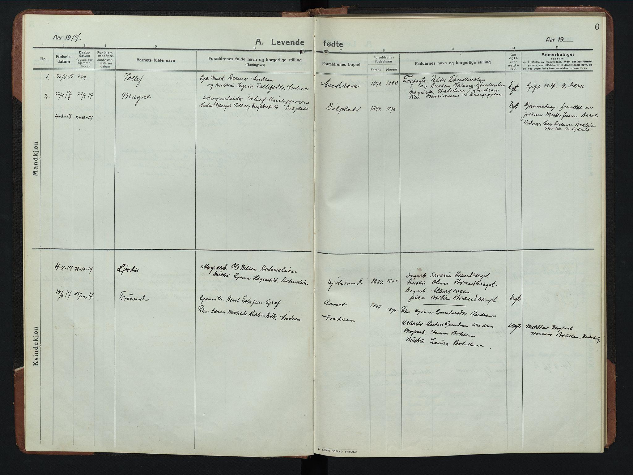 SAH, Rendalen prestekontor, H/Ha/Hab/L0008: Klokkerbok nr. 8, 1914-1948, s. 6