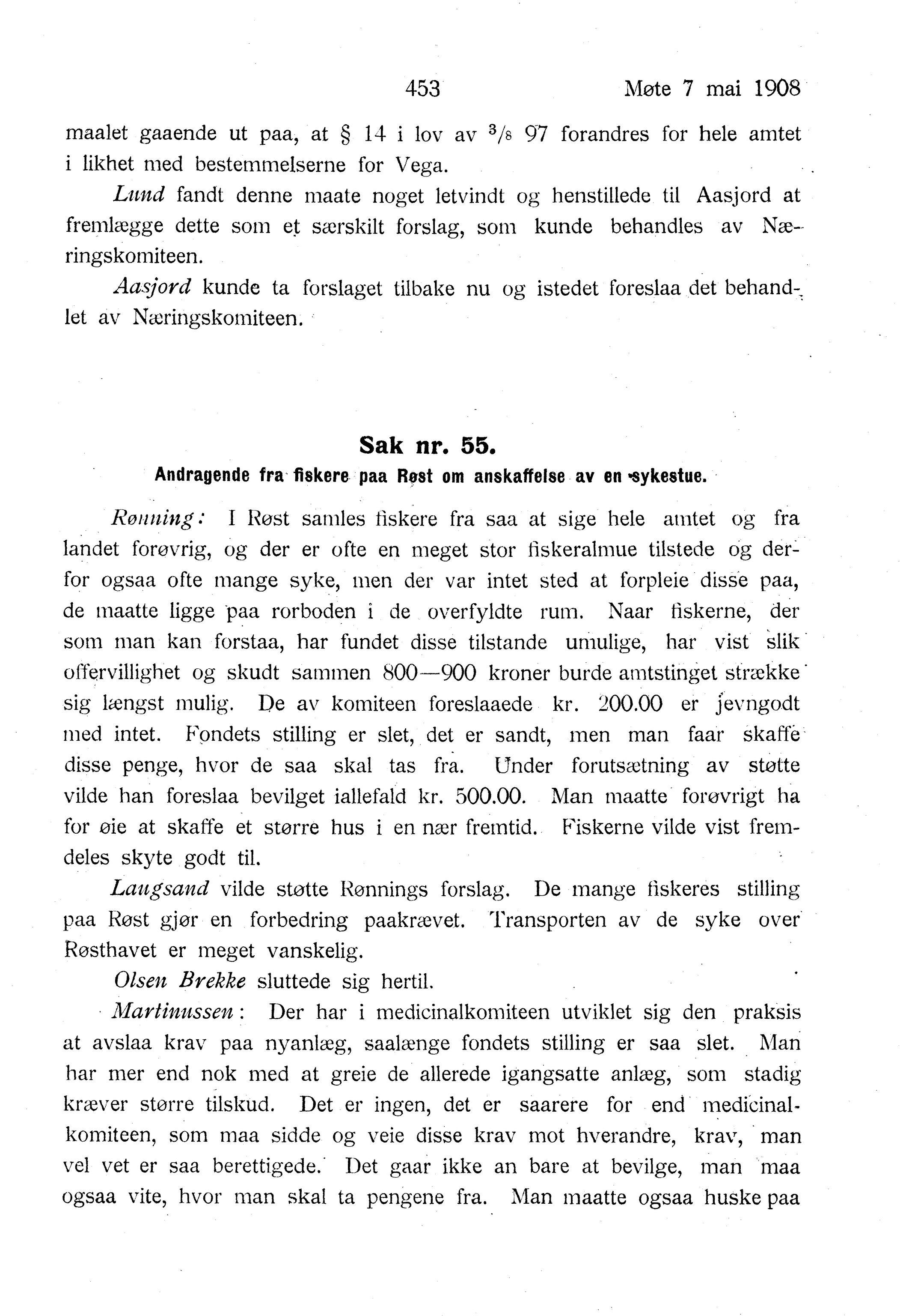 AIN, Nordland Fylkeskommune. Fylkestinget, A/Ac/L0031: Fylkestingsforhandlinger 1908, 1908
