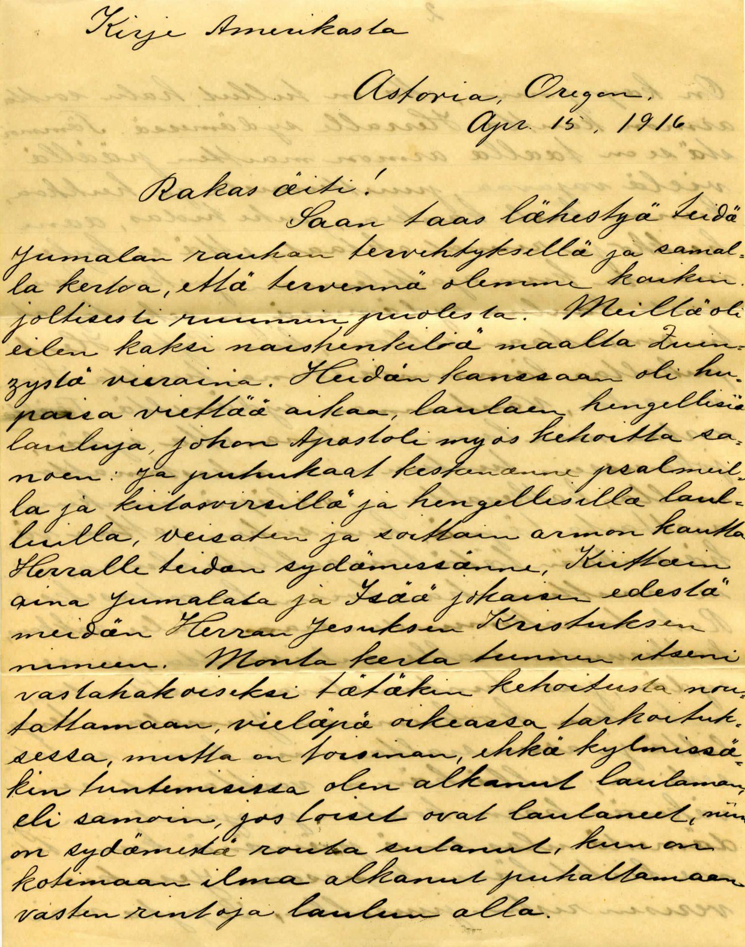FMFB, Elise Balos brevsamling, F/Fb/L0004: Brev fra Hans J. Lilleeng til  Sofie Lilleeng, 1916