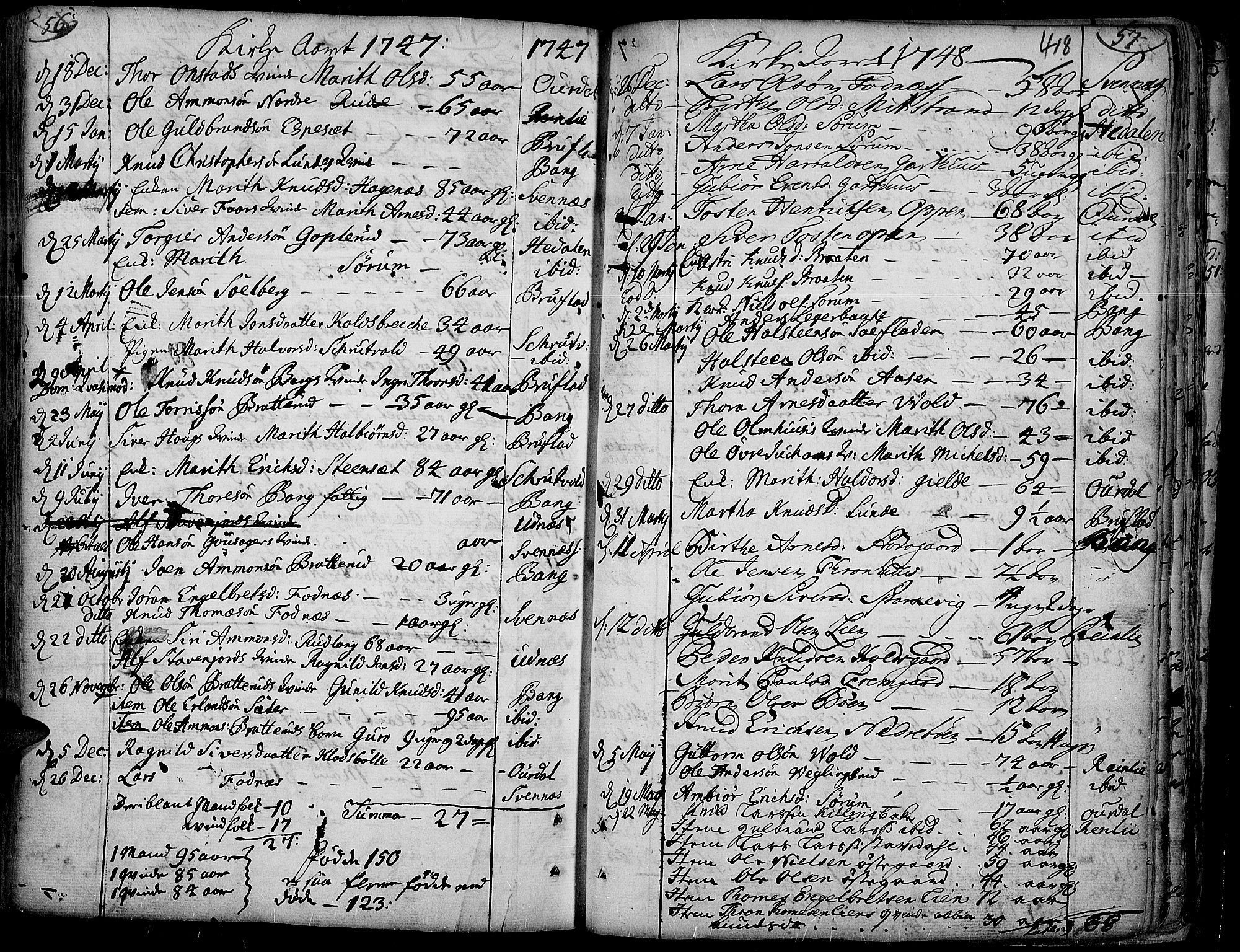 SAH, Aurdal prestekontor, Ministerialbok nr. 4, 1730-1762, s. 56-57