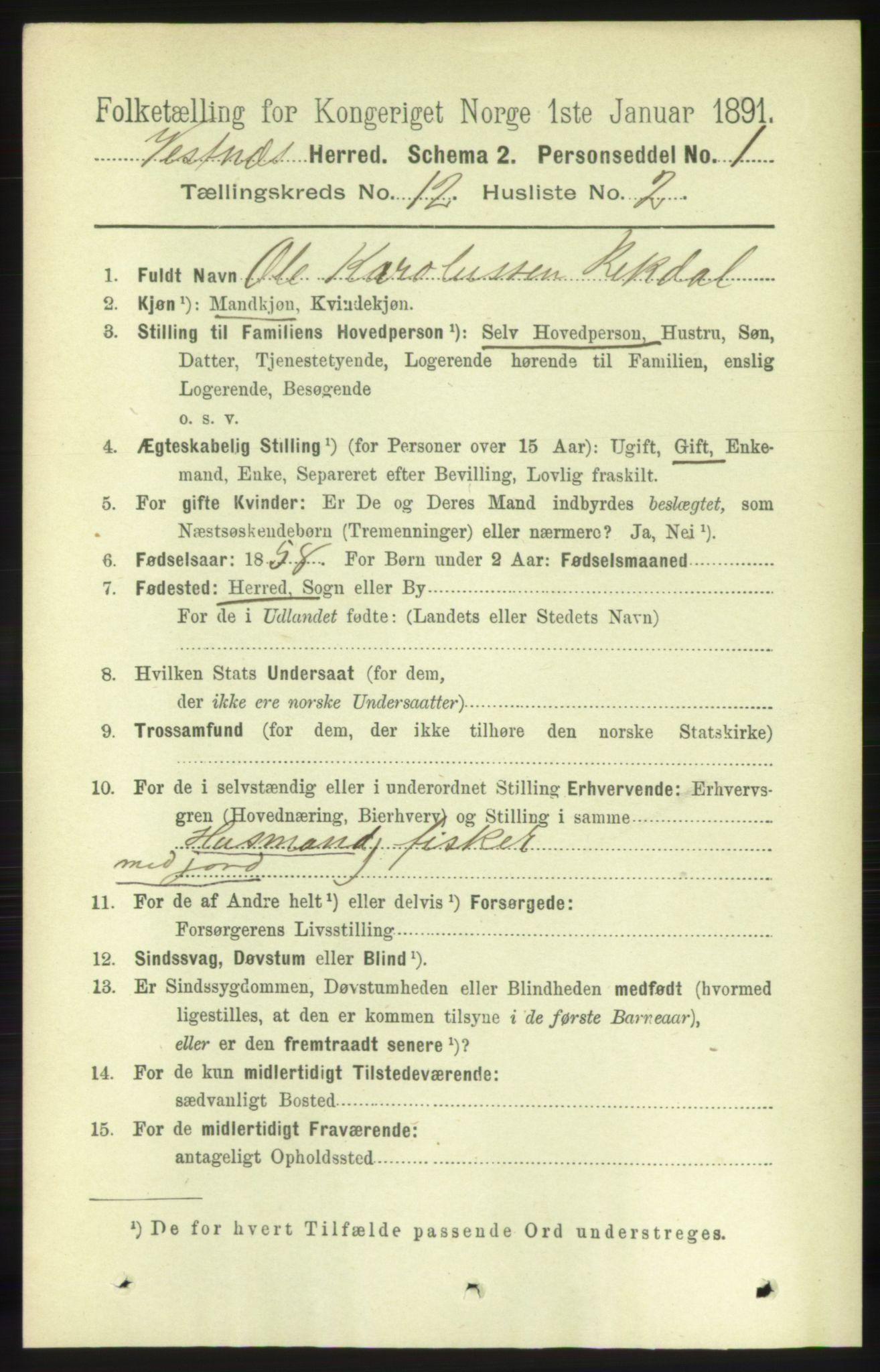 RA, Folketelling 1891 for 1535 Vestnes herred, 1891, s. 4423