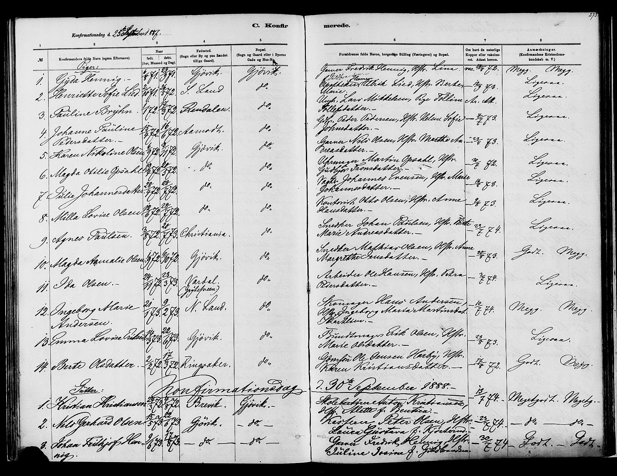 SAH, Vardal prestekontor, H/Ha/Haa/L0008: Ministerialbok nr. 8, 1878-1890, s. 273
