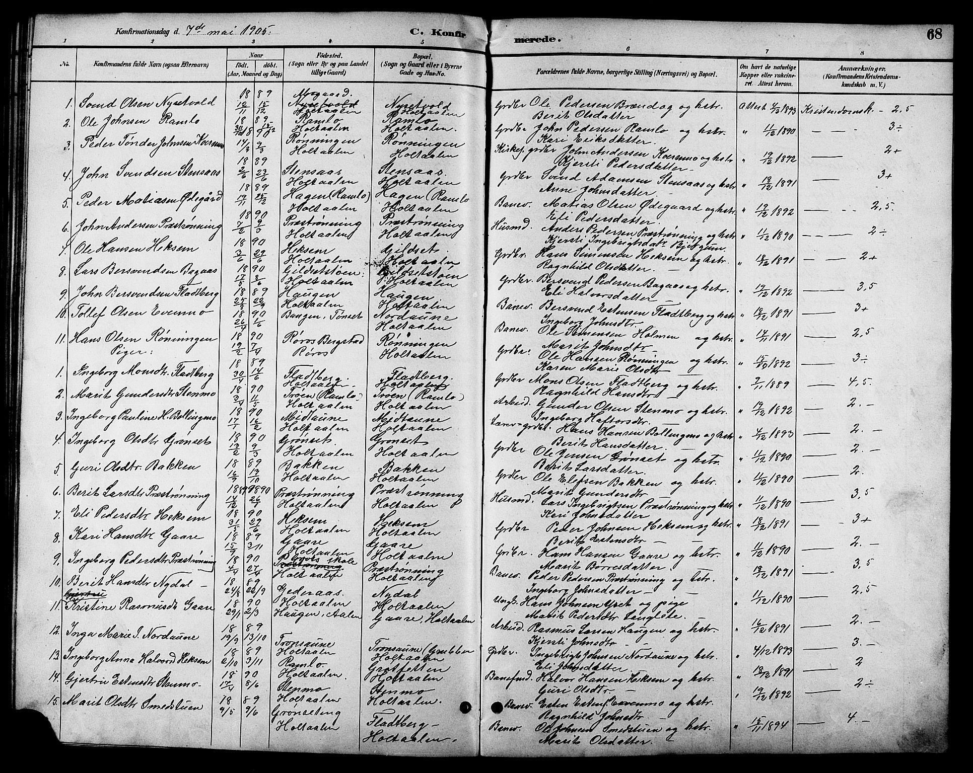 SAT, Ministerialprotokoller, klokkerbøker og fødselsregistre - Sør-Trøndelag, 685/L0978: Klokkerbok nr. 685C03, 1891-1907, s. 68