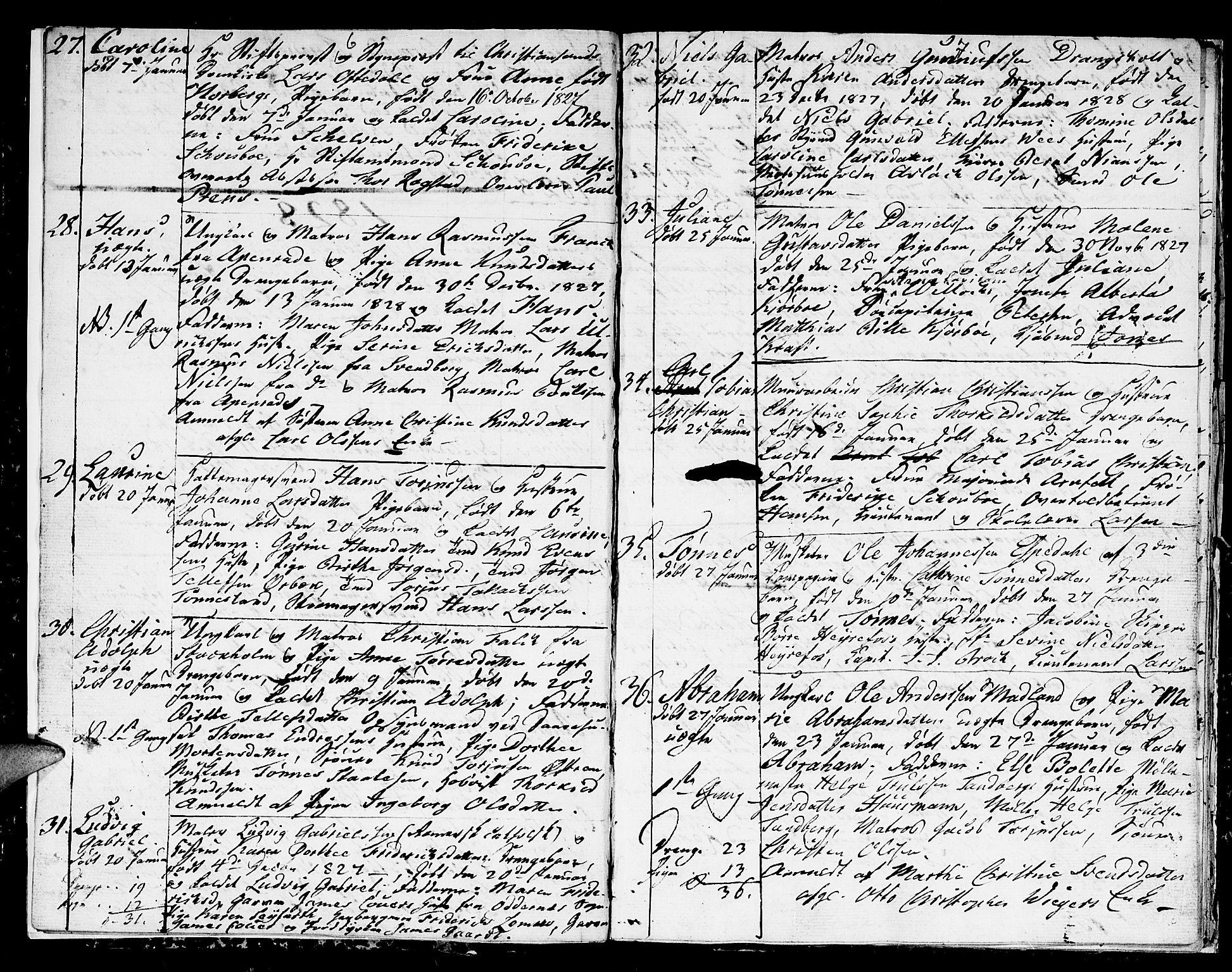 SAK, Kristiansand domprosti, F/Fb/L0005: Klokkerbok nr. B 5, 1827-1828, s. 6-7