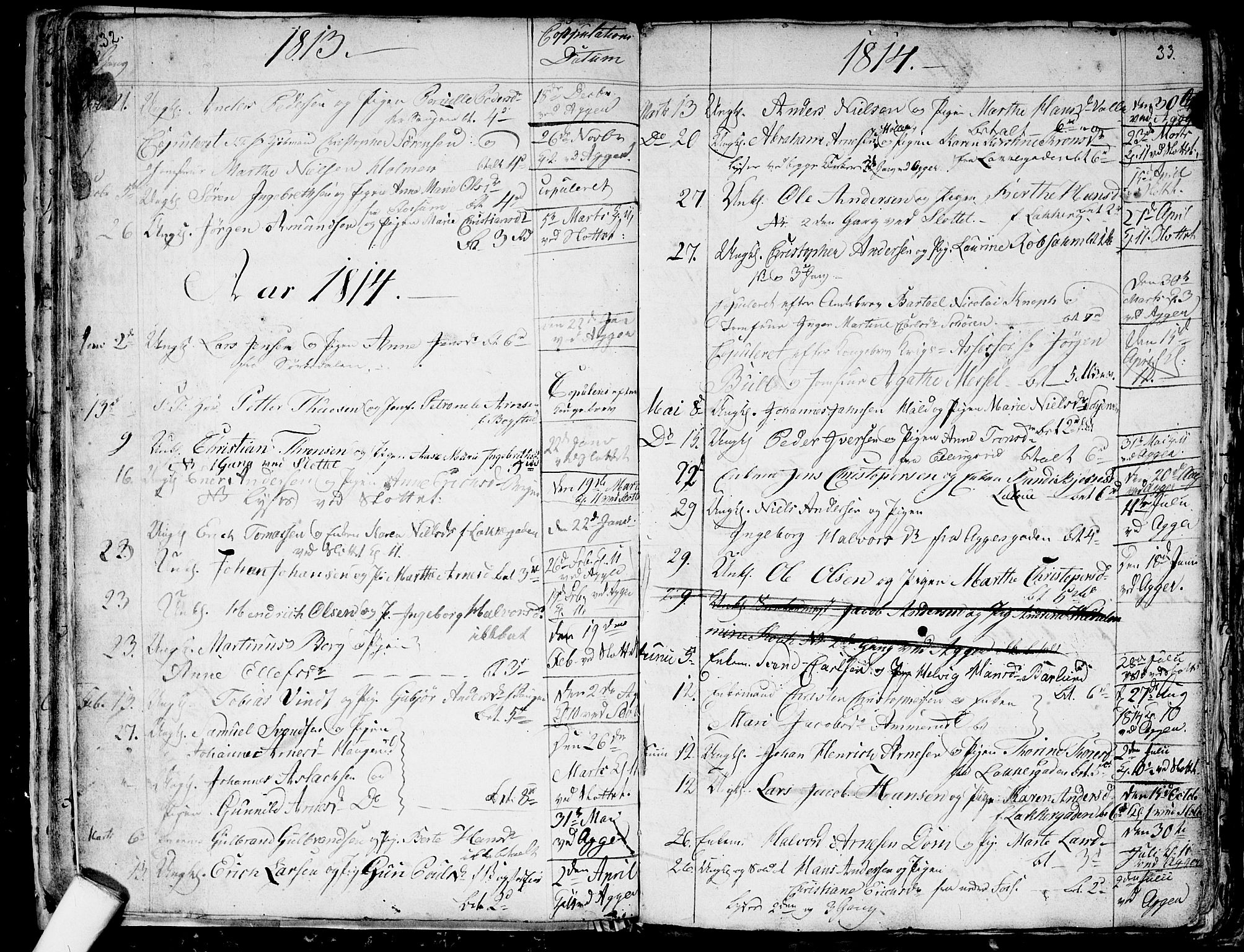 SAO, Aker prestekontor kirkebøker, G/L0001: Klokkerbok nr. 1, 1796-1826, s. 32-33