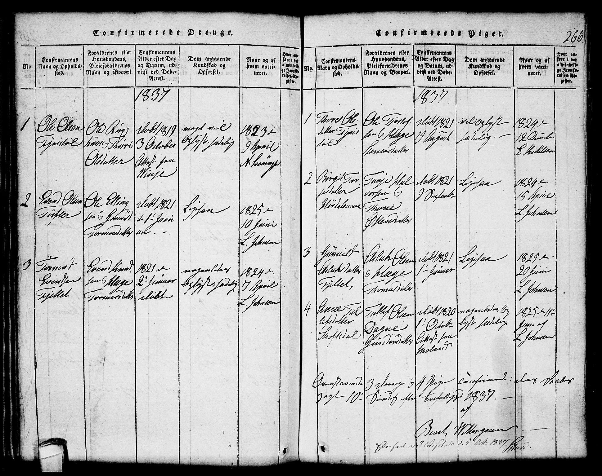 SAKO, Lårdal kirkebøker, G/Gc/L0001: Klokkerbok nr. III 1, 1815-1854, s. 266