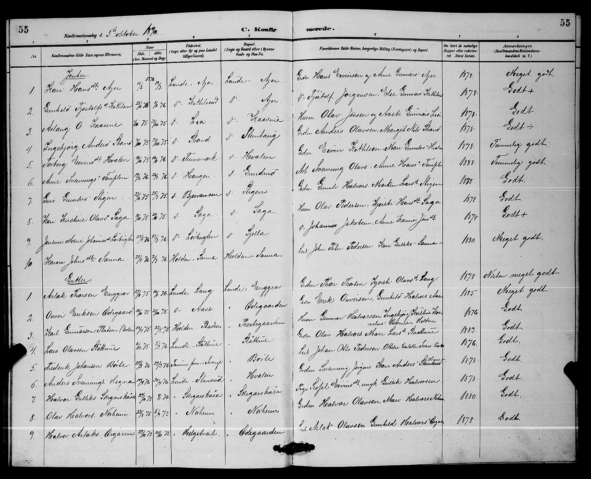 SAKO, Lunde kirkebøker, G/Ga/L0002: Klokkerbok nr. I 2, 1887-1896, s. 55