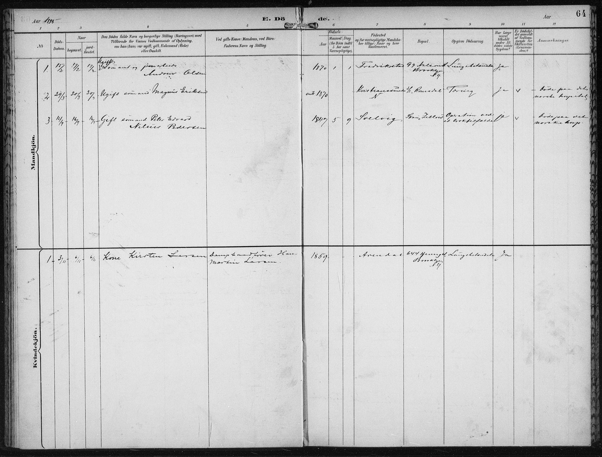 SAB, Den Norske Sjømannsmisjon i utlandet*, Ministerialbok nr. A 4, 1893-1901, s. 64