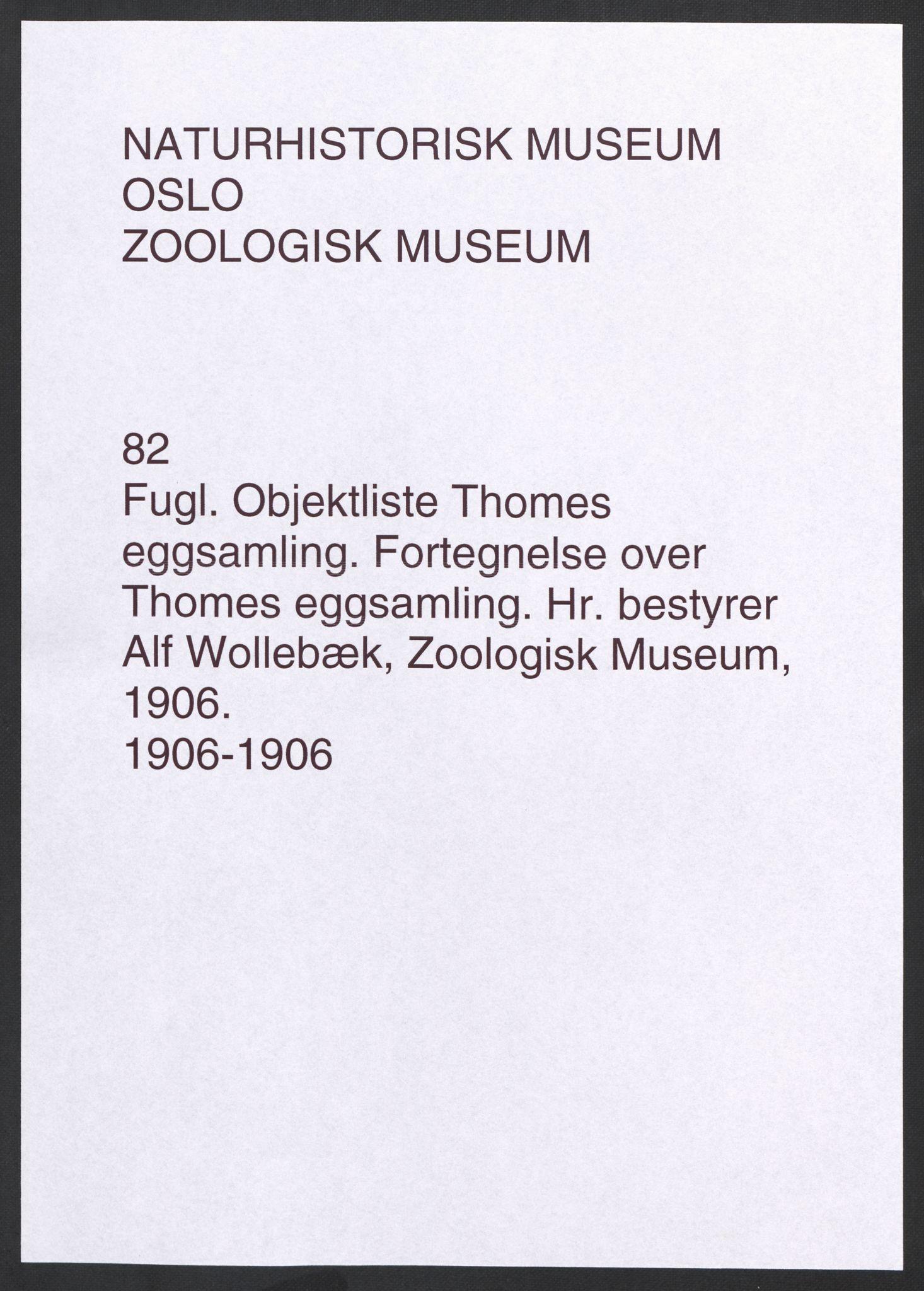 NHMO, Naturhistorisk museum (Oslo), 2: Fugl. Objektliste. Fortegnelse over Thomes eggsamling., 1906