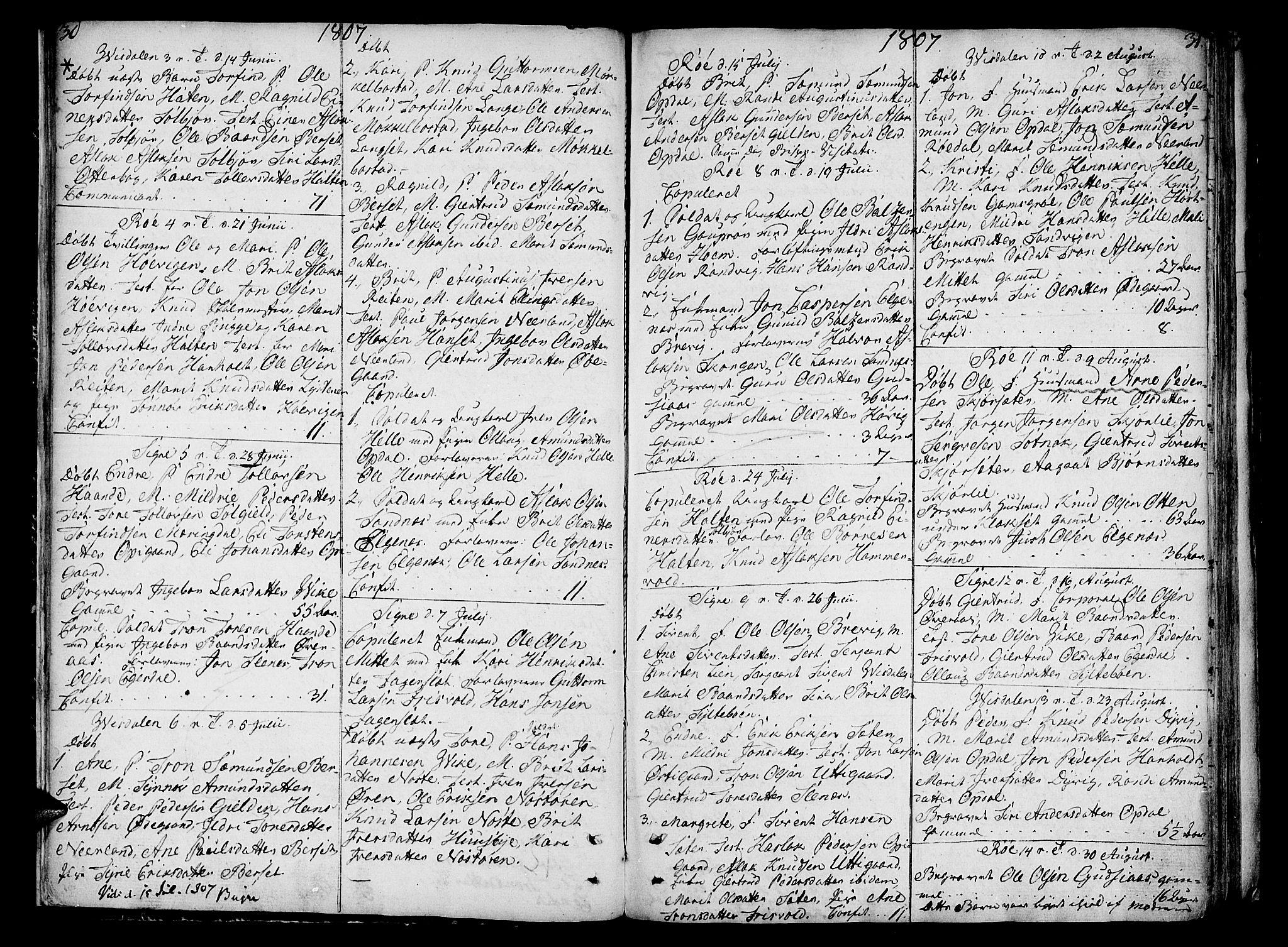 SAT, Ministerialprotokoller, klokkerbøker og fødselsregistre - Møre og Romsdal, 551/L0622: Ministerialbok nr. 551A02, 1804-1845, s. 30-31