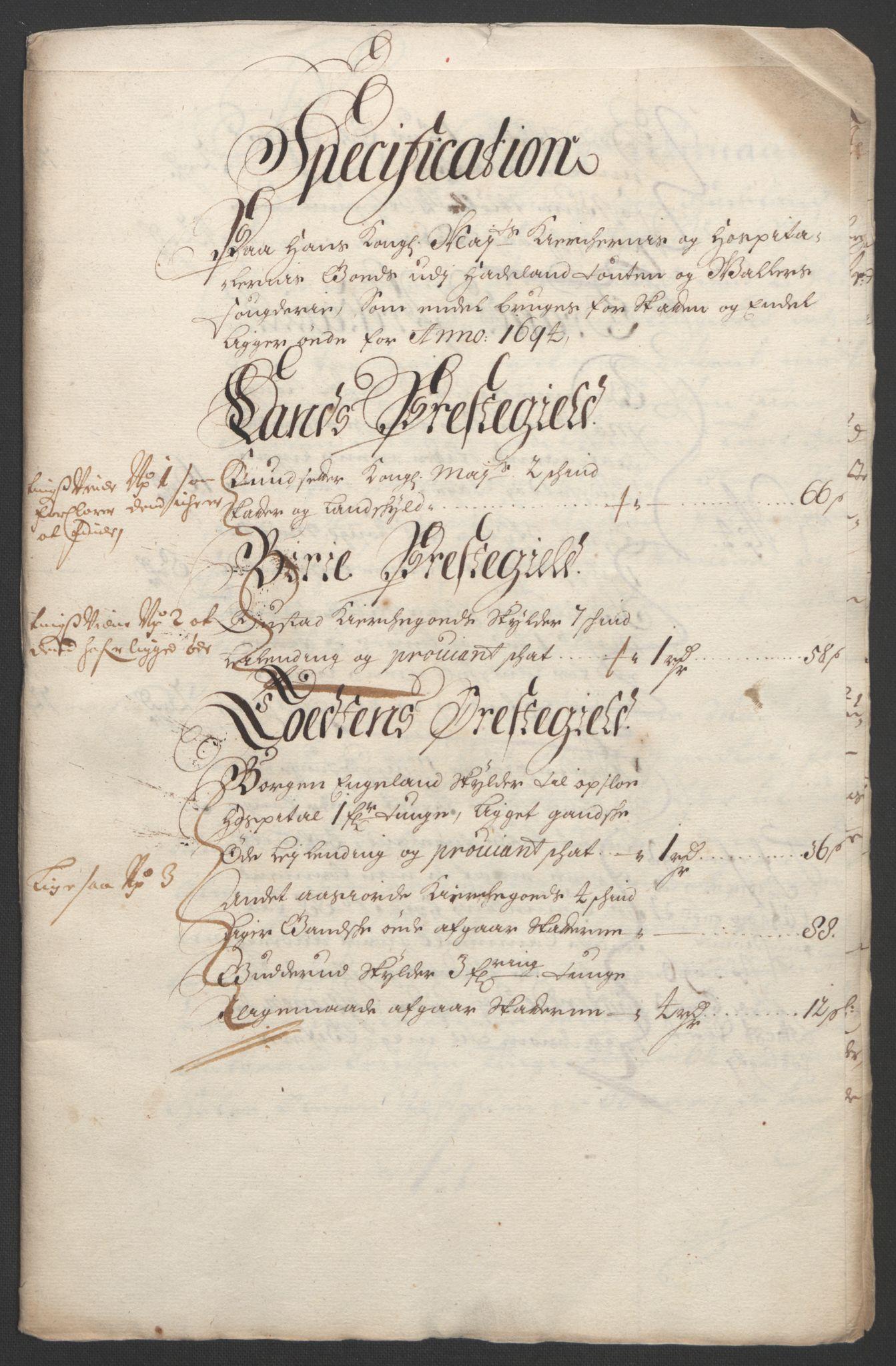 RA, Rentekammeret inntil 1814, Reviderte regnskaper, Fogderegnskap, R18/L1292: Fogderegnskap Hadeland, Toten og Valdres, 1693-1694, s. 441