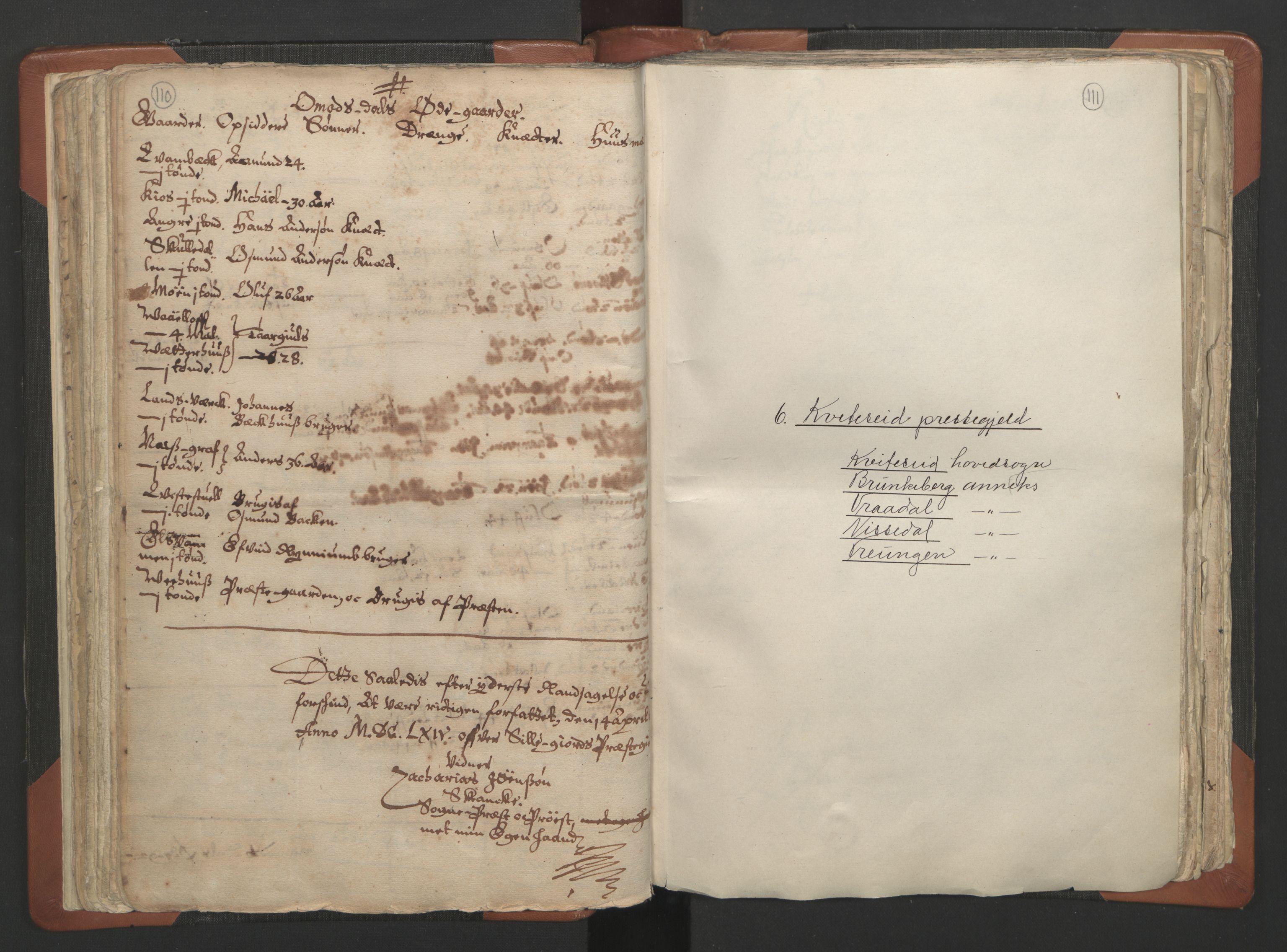 RA, Sogneprestenes manntall 1664-1666, nr. 12: Øvre Telemark prosti, Nedre Telemark prosti og Bamble prosti, 1664-1666, s. 110-111