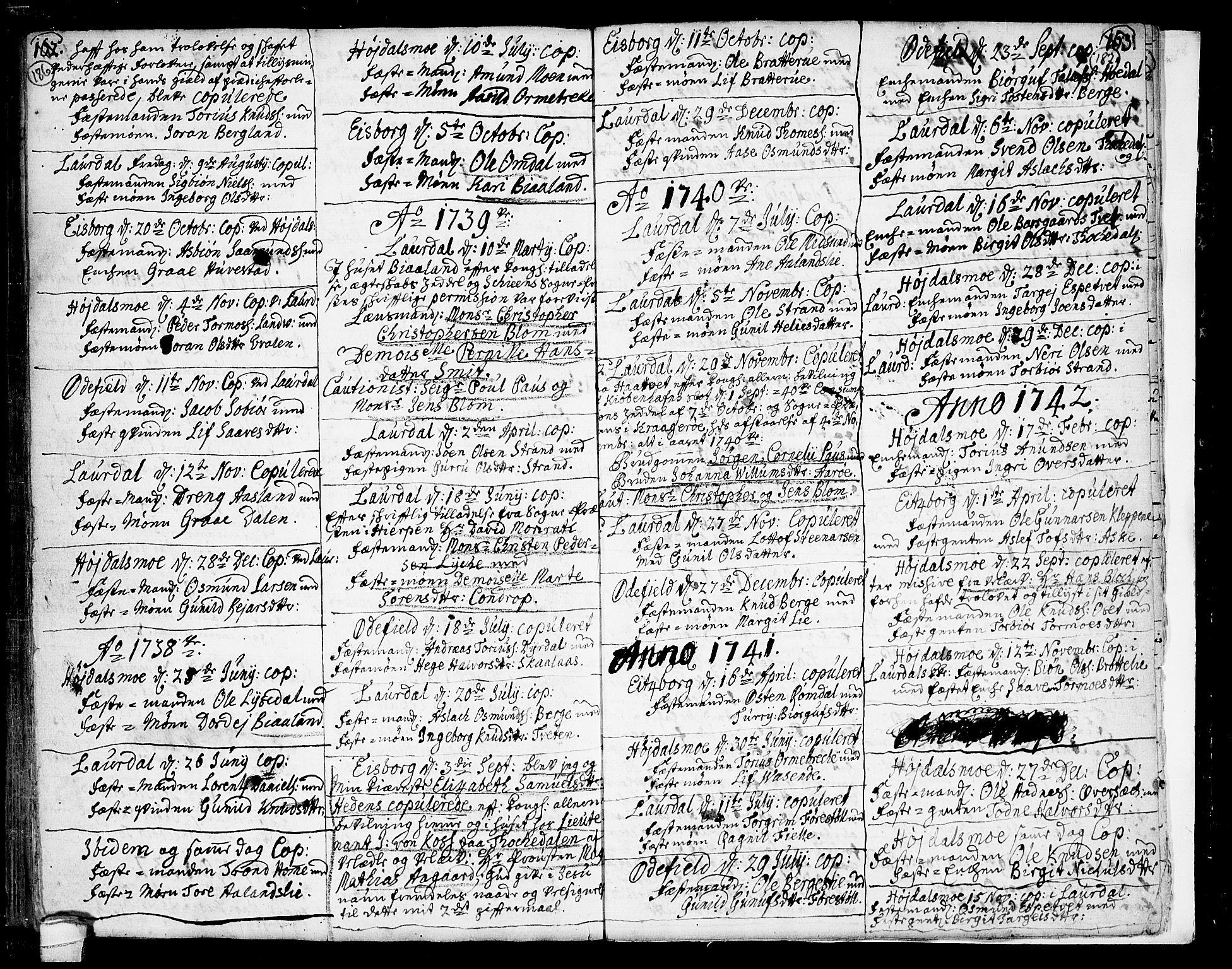 SAKO, Lårdal kirkebøker, F/Fa/L0002: Ministerialbok nr. I 2, 1734-1754, s. 186-187