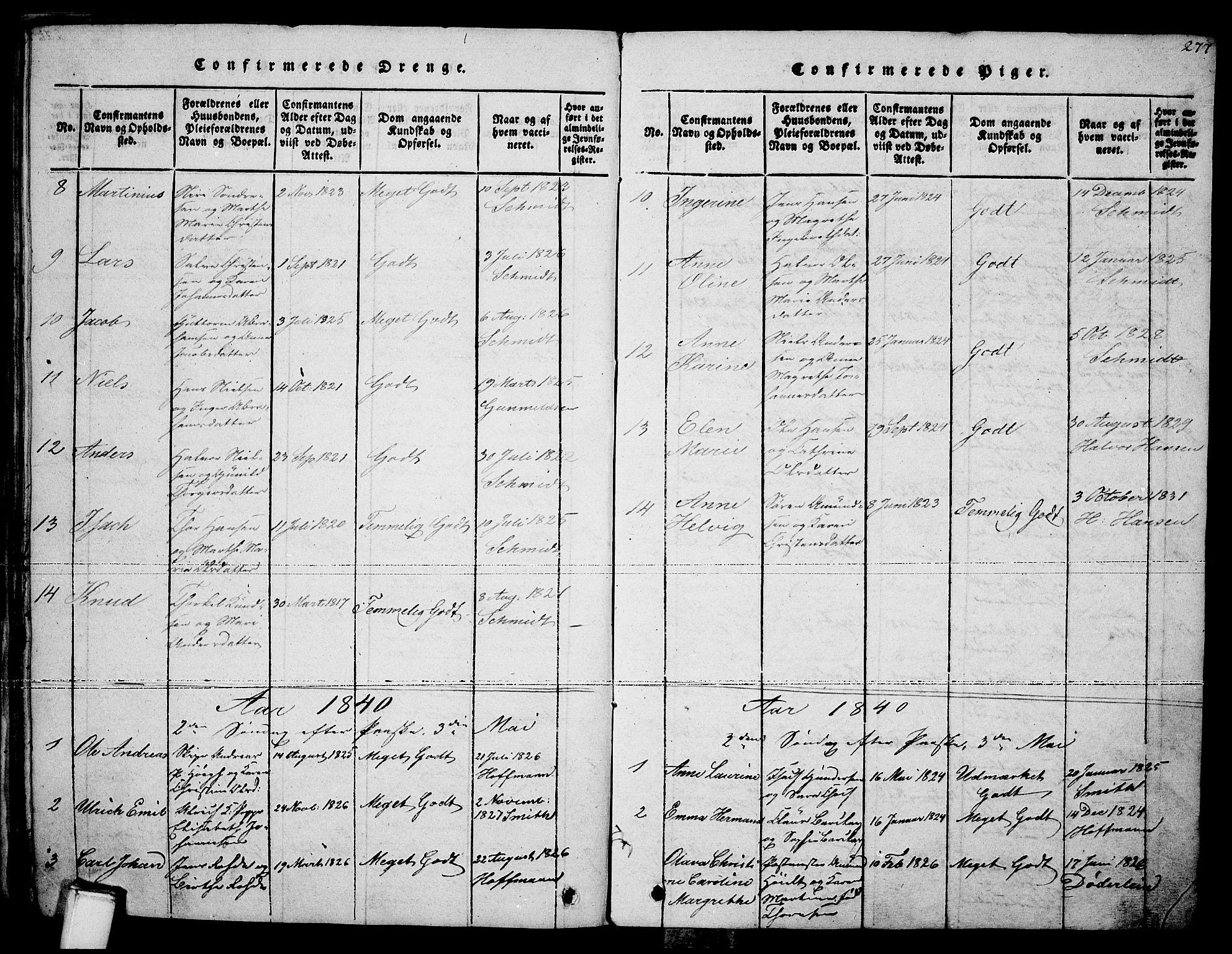 SAKO, Brevik kirkebøker, F/Fa/L0004: Ministerialbok nr. 4, 1814-1846, s. 277