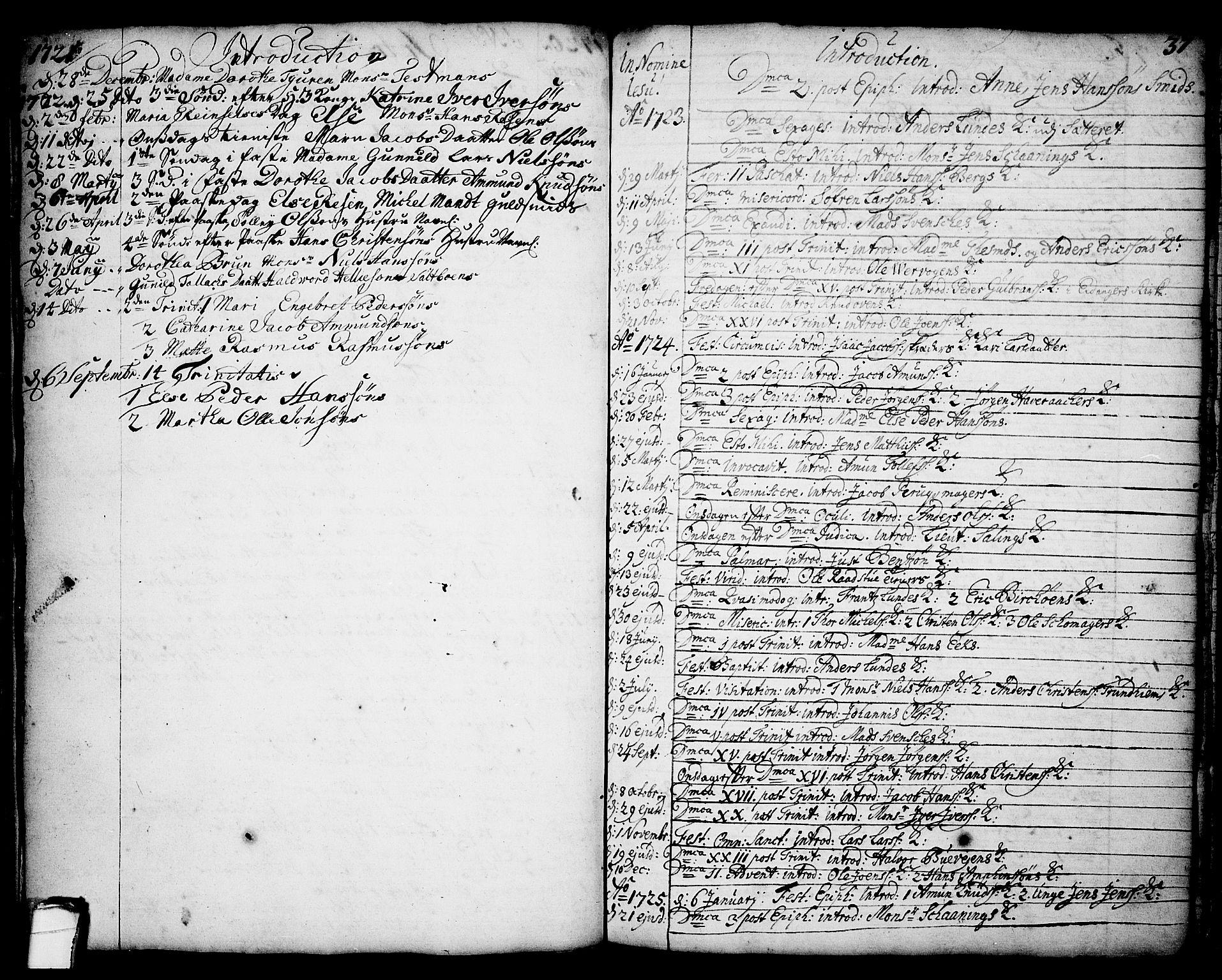 SAKO, Brevik kirkebøker, F/Fa/L0002: Ministerialbok nr. 2, 1720-1764, s. 37