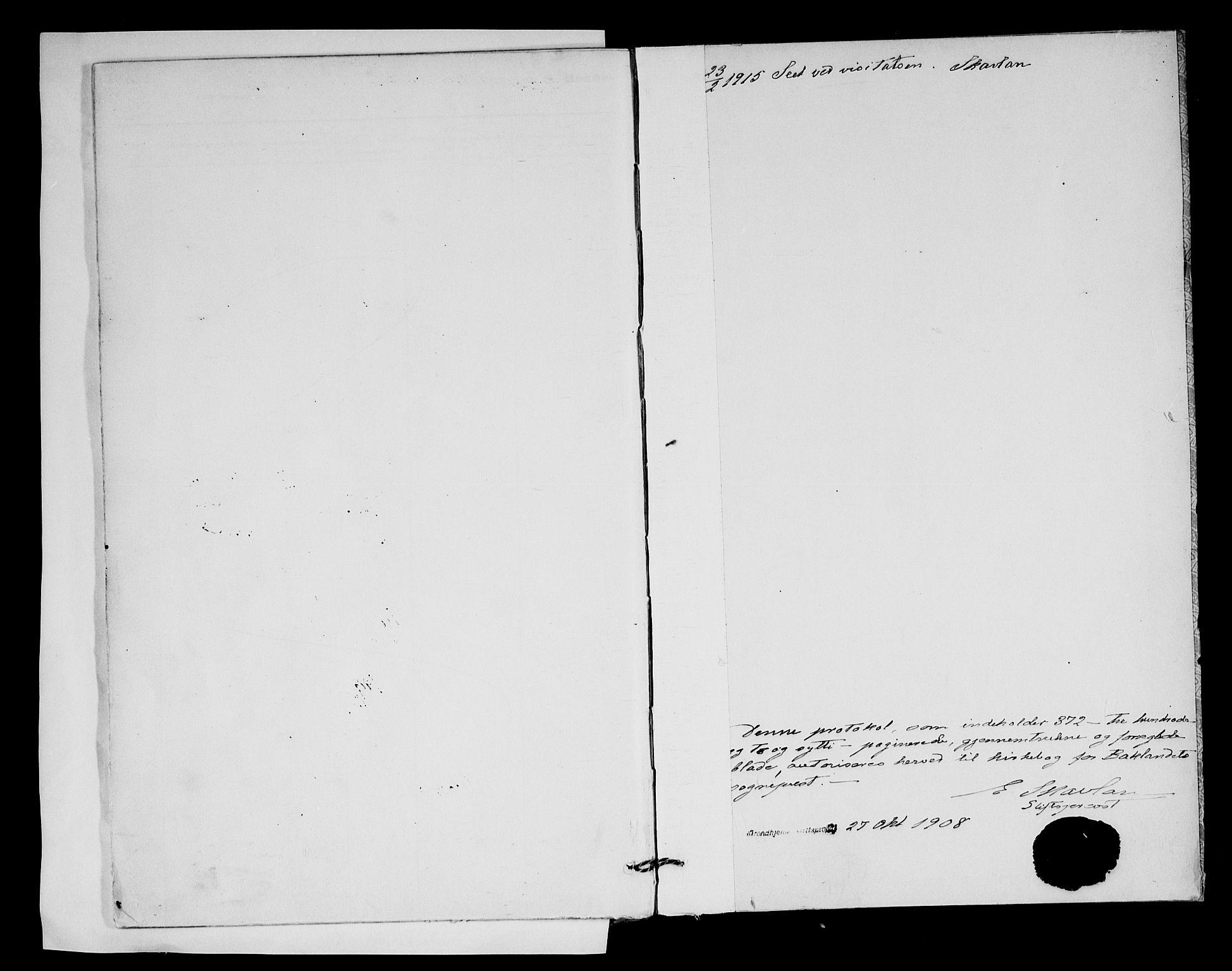SAT, Ministerialprotokoller, klokkerbøker og fødselsregistre - Sør-Trøndelag, 604/L0203: Ministerialbok nr. 604A23, 1908-1916