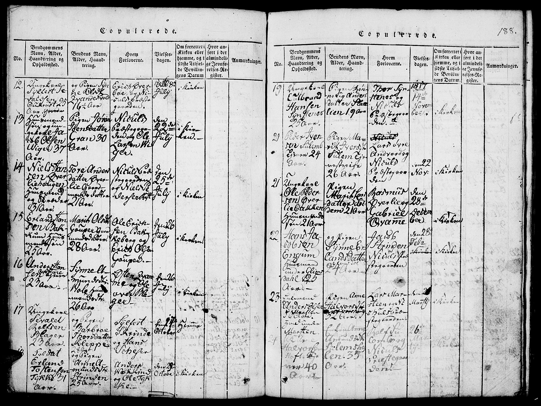 SAH, Lom prestekontor, L/L0001: Klokkerbok nr. 1, 1815-1836, s. 188