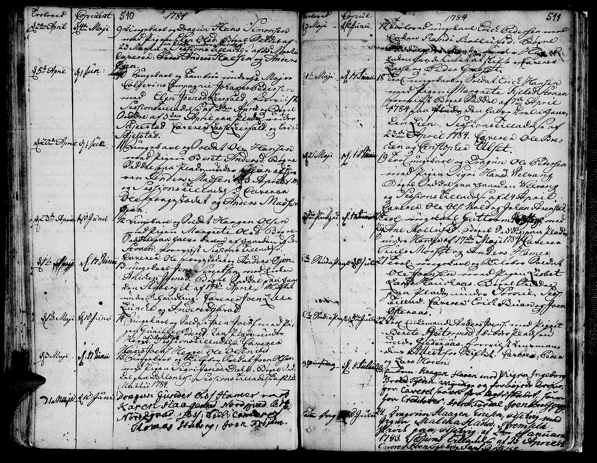 SAT, Ministerialprotokoller, klokkerbøker og fødselsregistre - Nord-Trøndelag, 709/L0059: Ministerialbok nr. 709A06, 1781-1797, s. 510-511