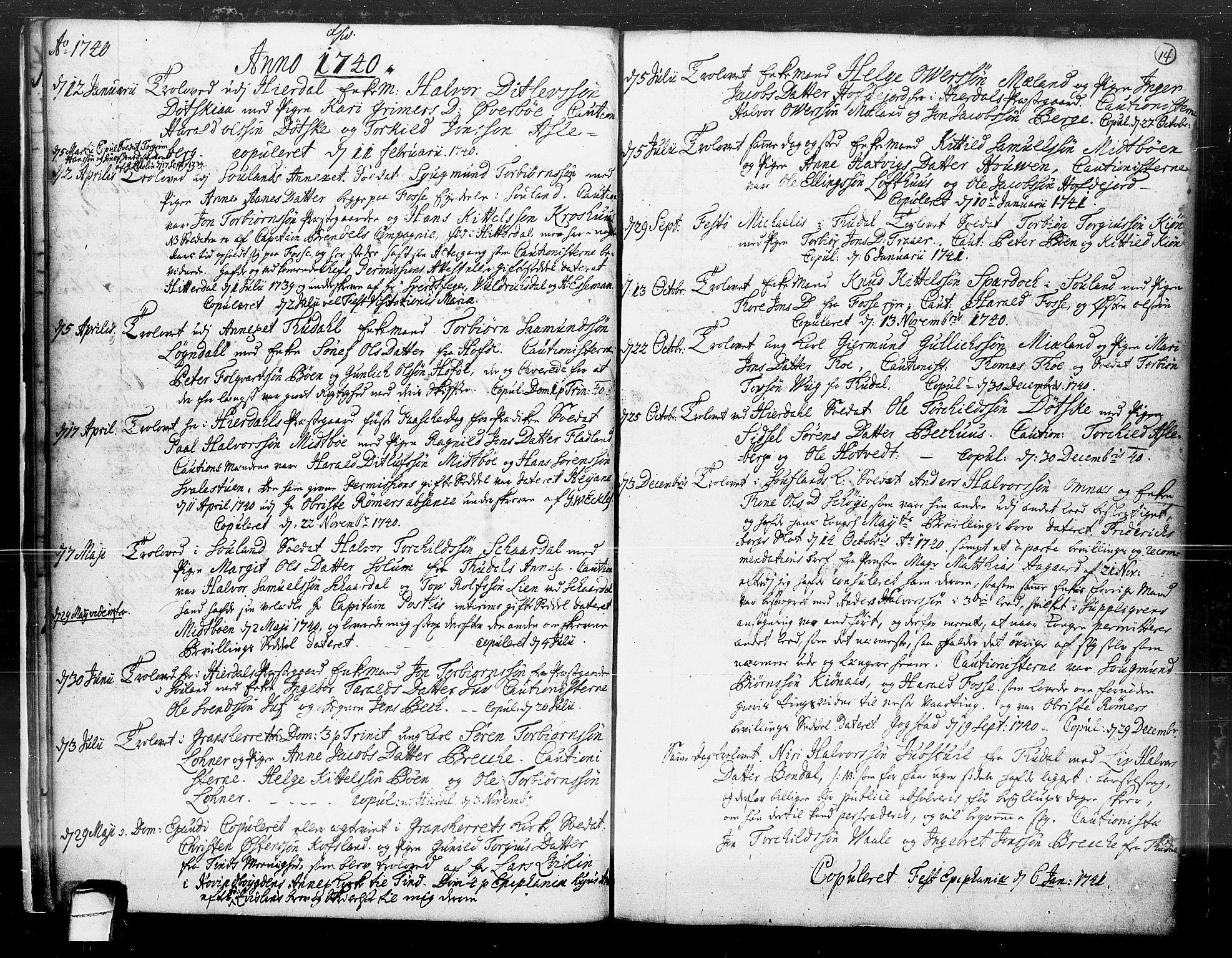 SAKO, Hjartdal kirkebøker, F/Fa/L0004: Ministerialbok nr. I 4, 1727-1795, s. 14