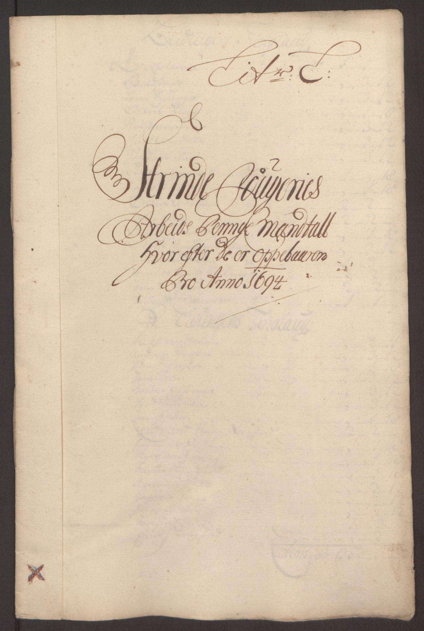 RA, Rentekammeret inntil 1814, Reviderte regnskaper, Fogderegnskap, R61/L4104: Fogderegnskap Strinda og Selbu, 1693-1694, s. 273