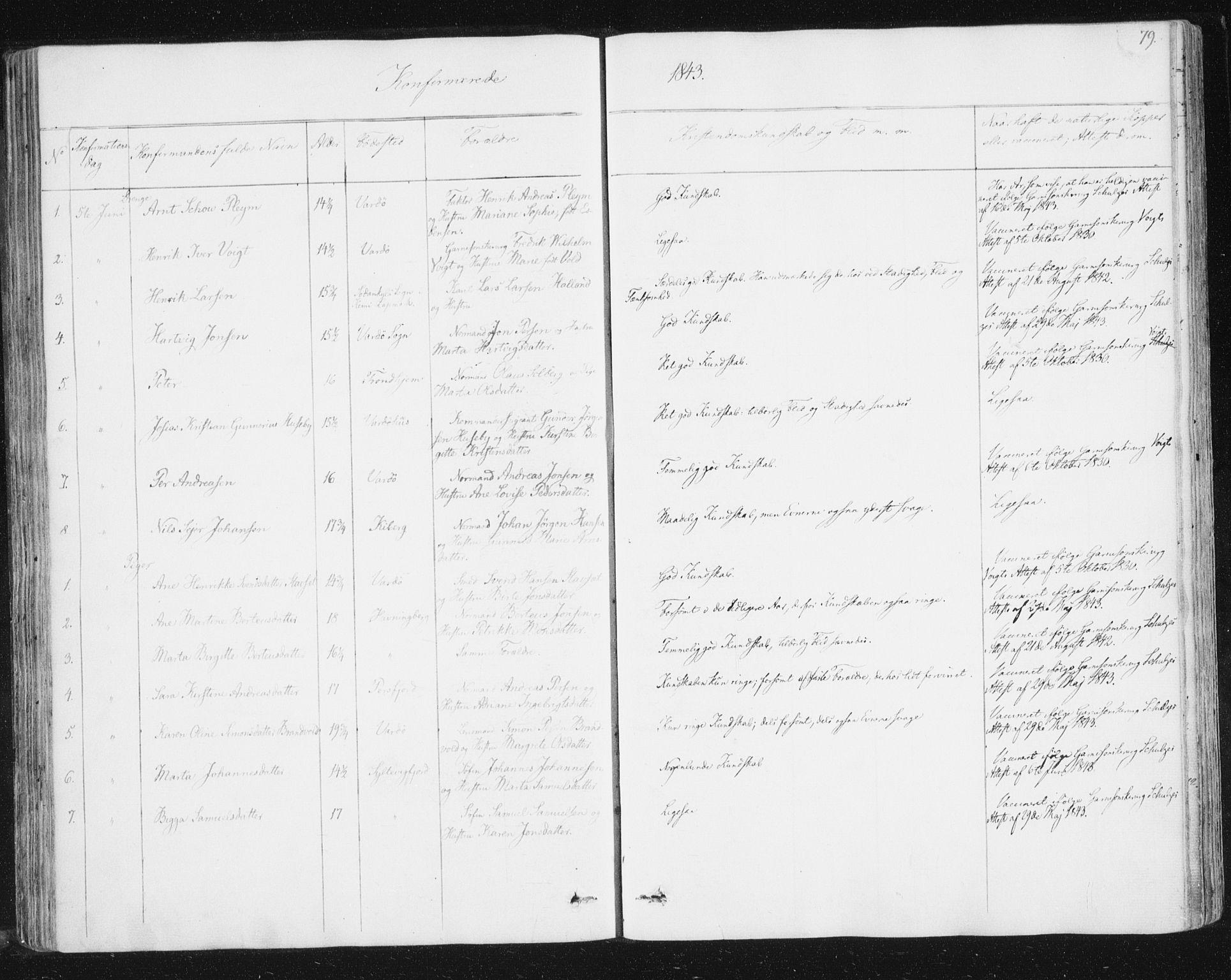 SATØ, Vardø sokneprestkontor, H/Ha/L0003kirke: Ministerialbok nr. 3, 1843-1861, s. 79