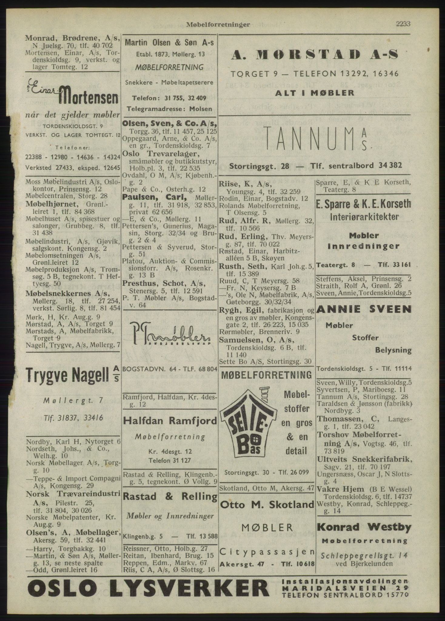 RA, Oslo adressebok (publikasjon)*, 1946, s. 2233