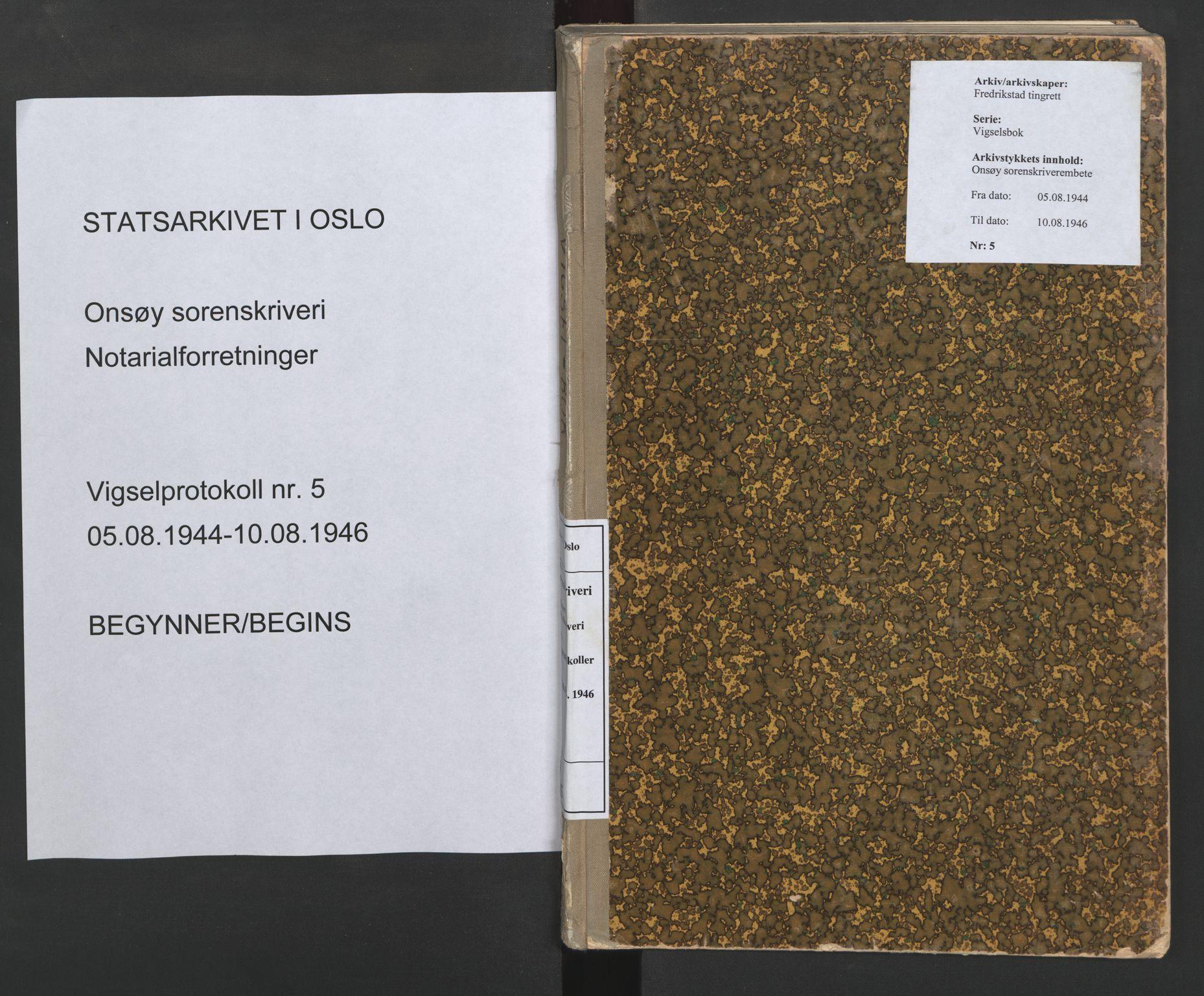 SAO, Onsøy sorenskriveri, L/La/L0005: Vigselsbok, 1944-1946, s. upaginert