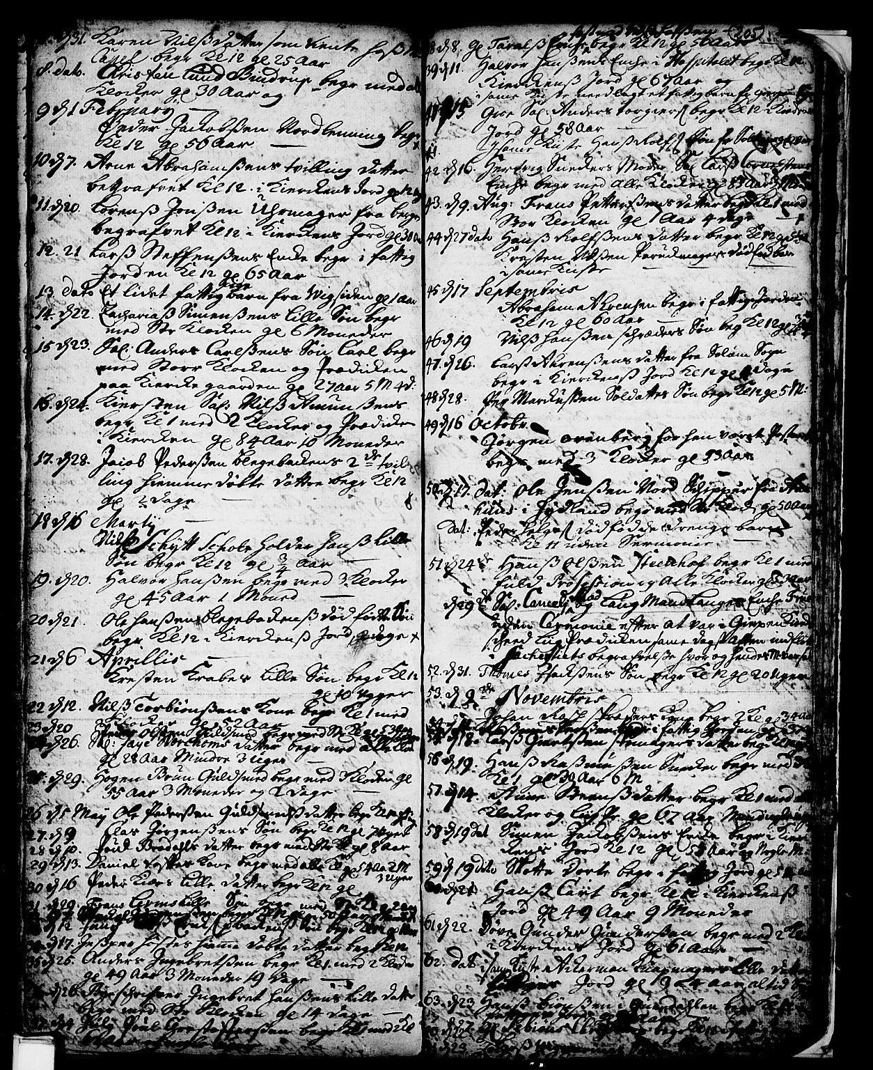 SAKO, Skien kirkebøker, F/Fa/L0002: Ministerialbok nr. 2, 1716-1757, s. 205