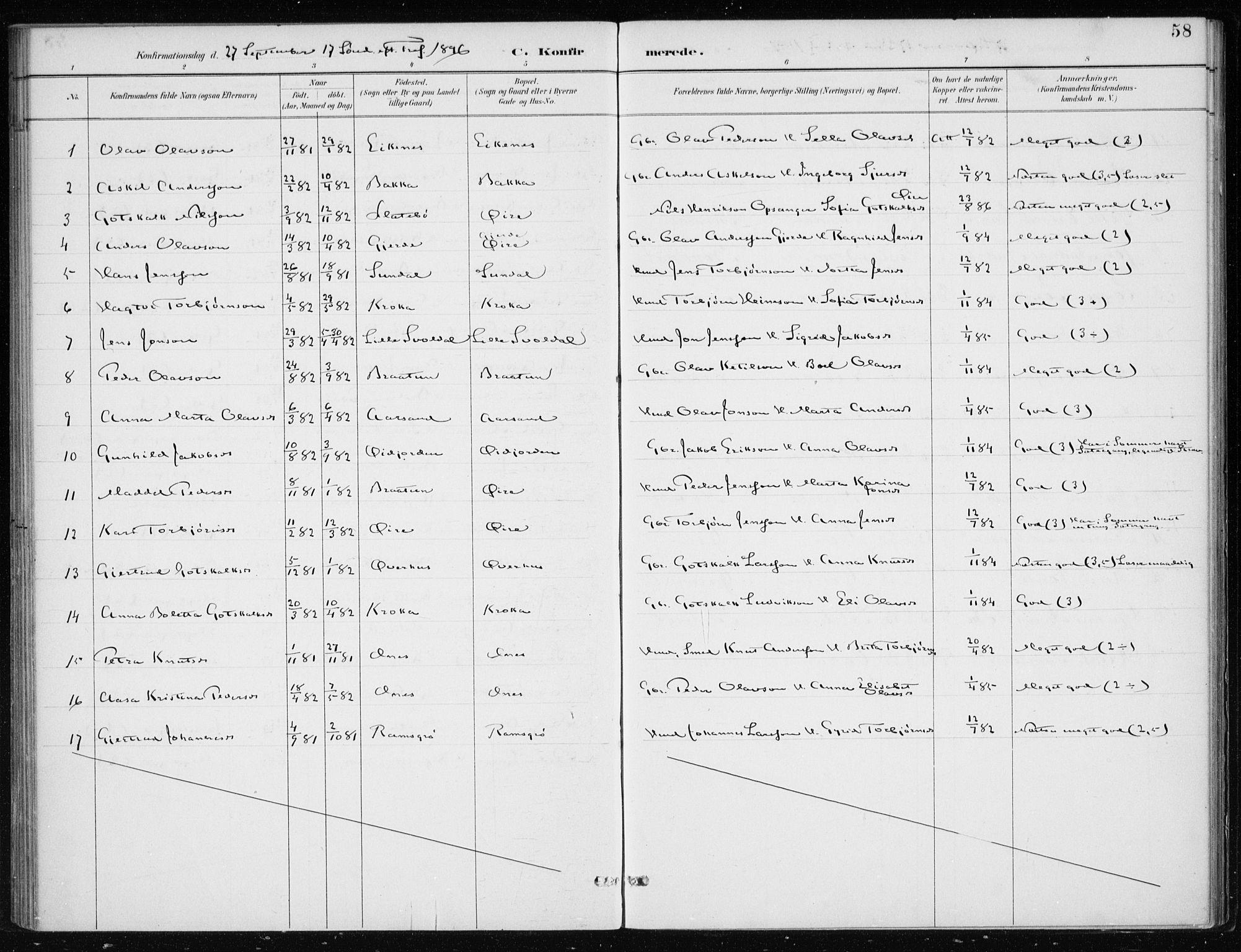 SAB, Kvinnherad Sokneprestembete, H/Haa: Ministerialbok nr. F 1, 1887-1912, s. 58