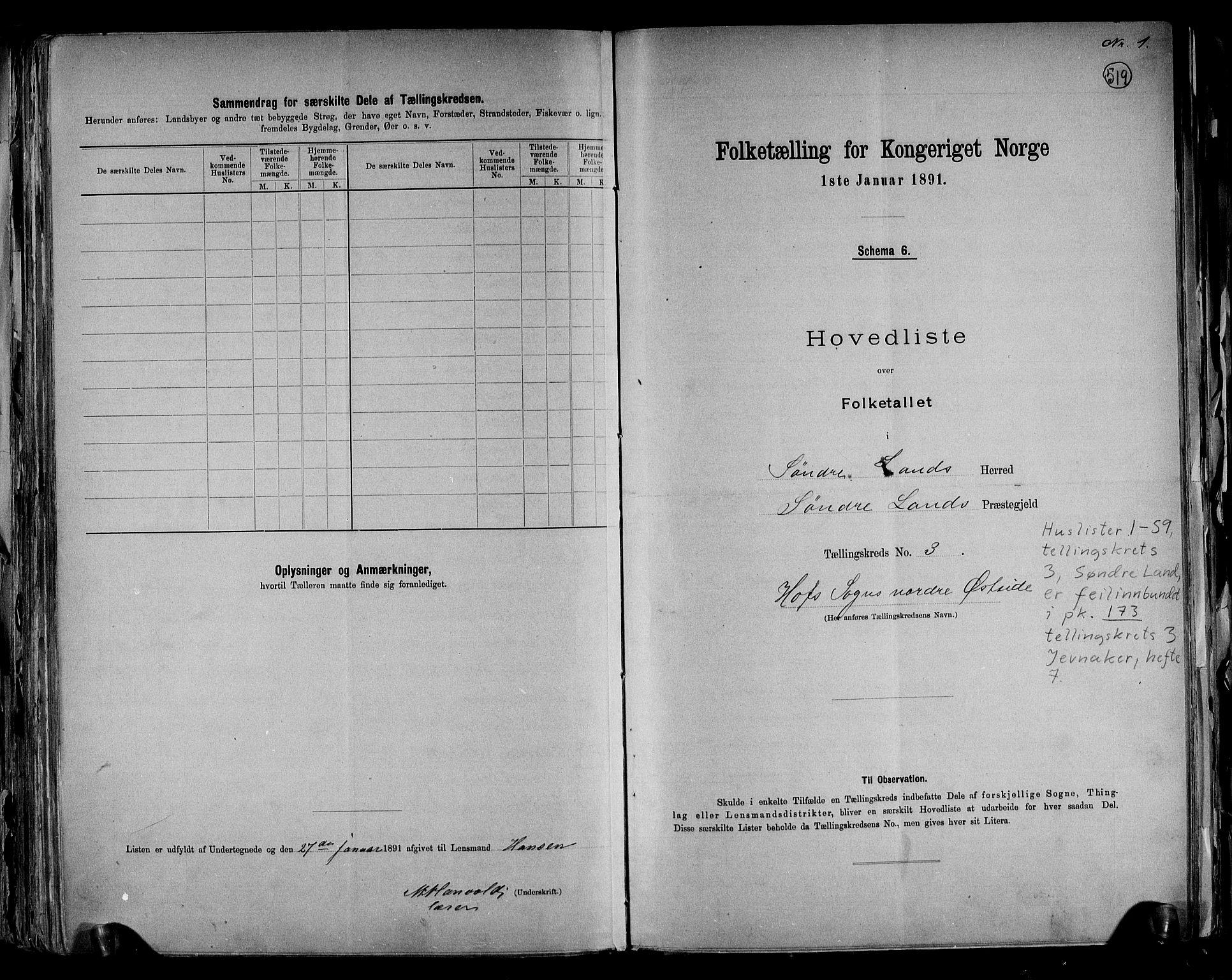 RA, Folketelling 1891 for 0536 Søndre Land herred, 1891, s. 10