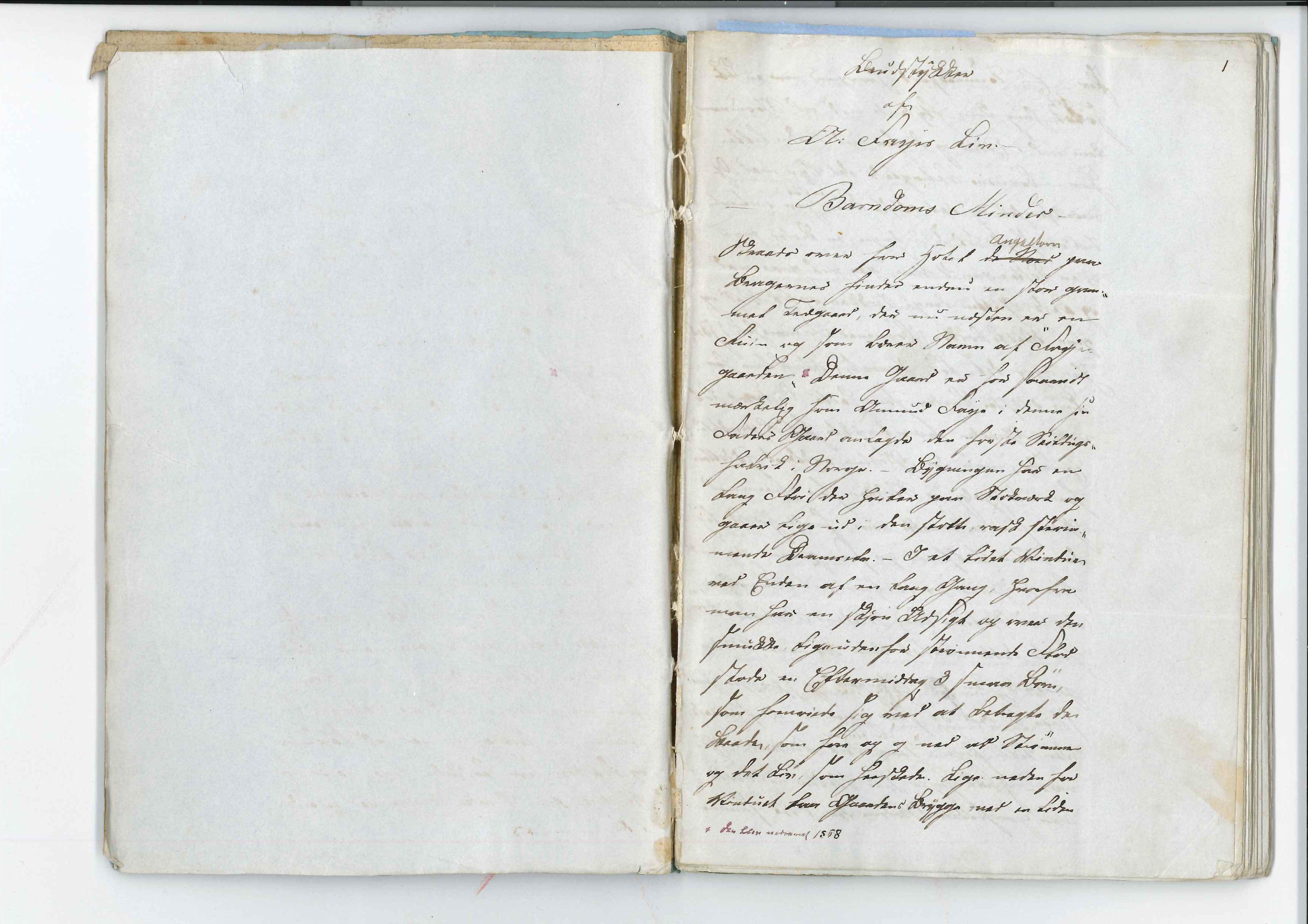 AAKS, Faye, Andreas, F/L0002: Memoarer og dagbøker, 1809-1825, s. 1
