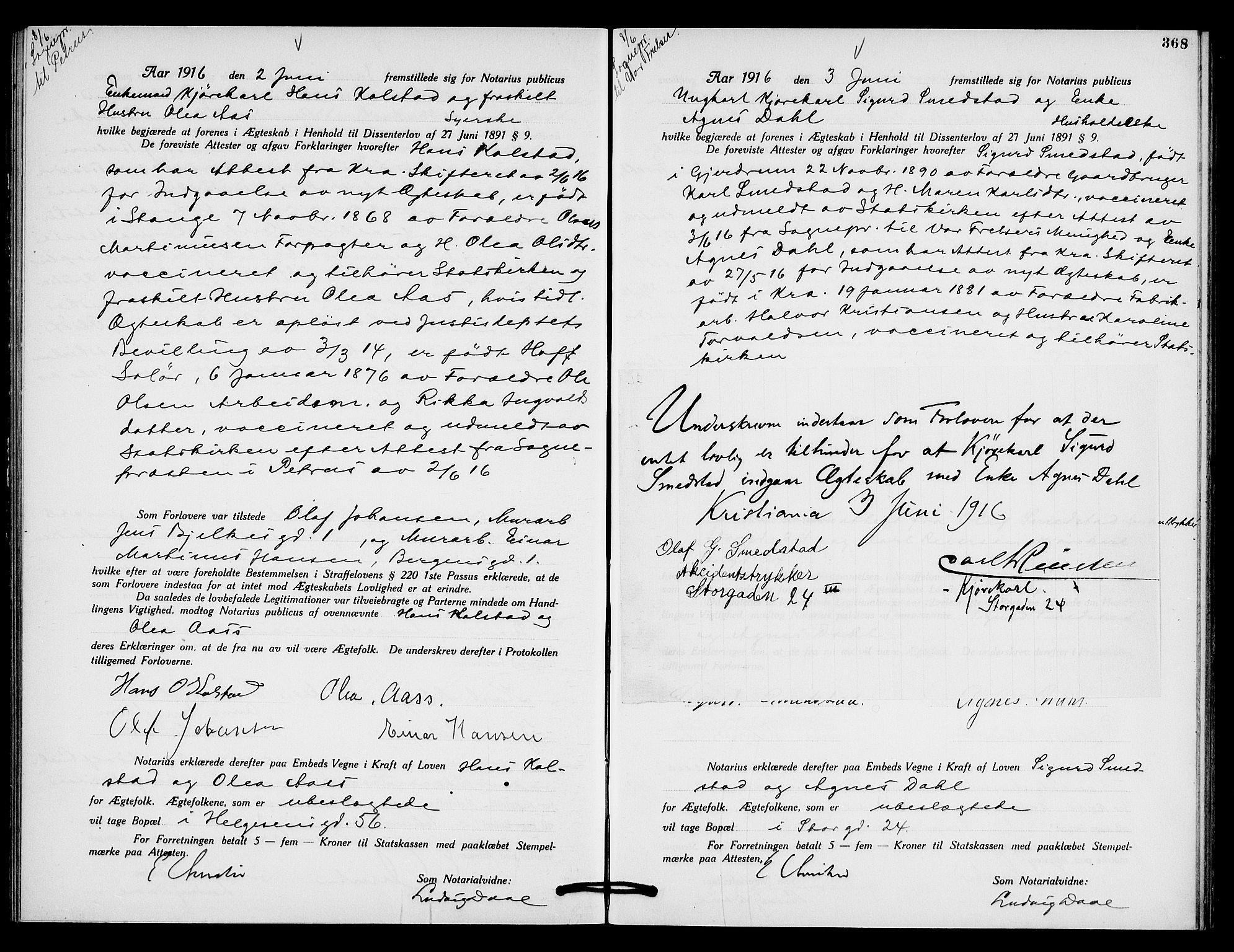 SAO, Oslo byfogd avd. I, L/Lb/Lbb/L0010: Notarialprotokoll, rekke II: Vigsler, 1914-1916, s. 467b-468a