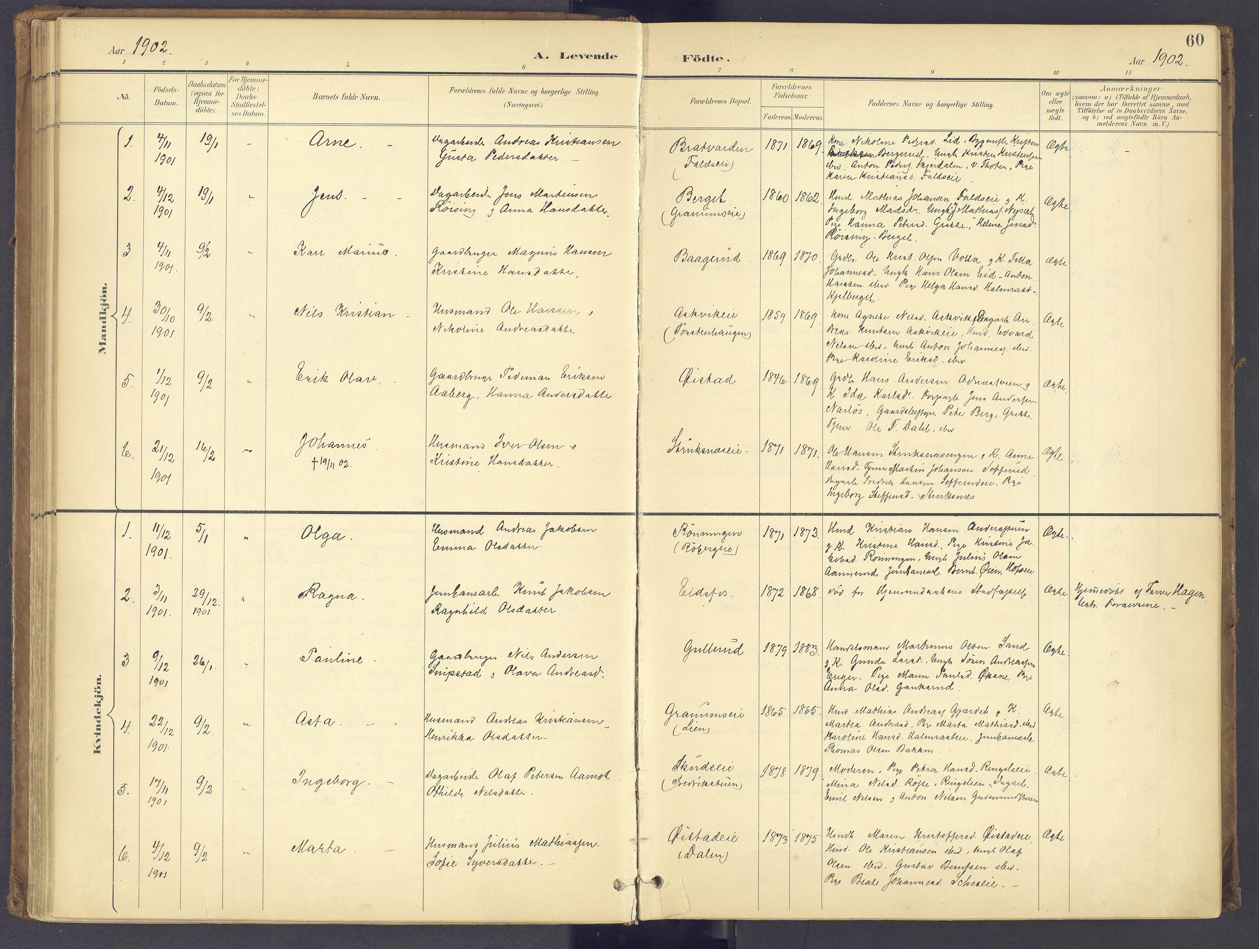 SAH, Søndre Land prestekontor, K/L0006: Ministerialbok nr. 6, 1895-1904, s. 60
