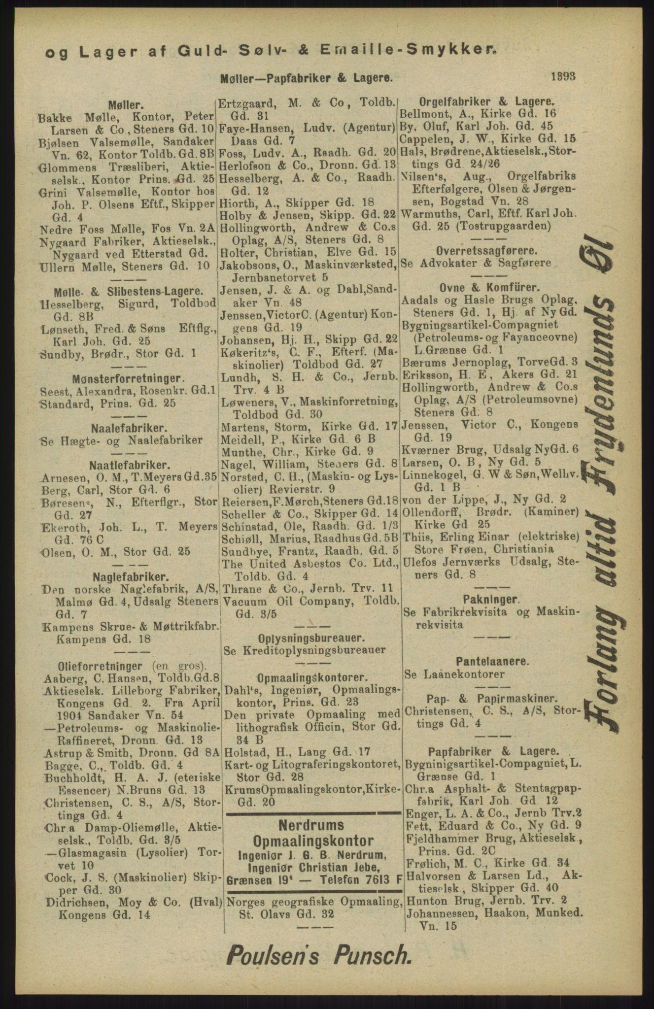 RA, Kristiania adressebok (publikasjon)*, 1904, s. 1393