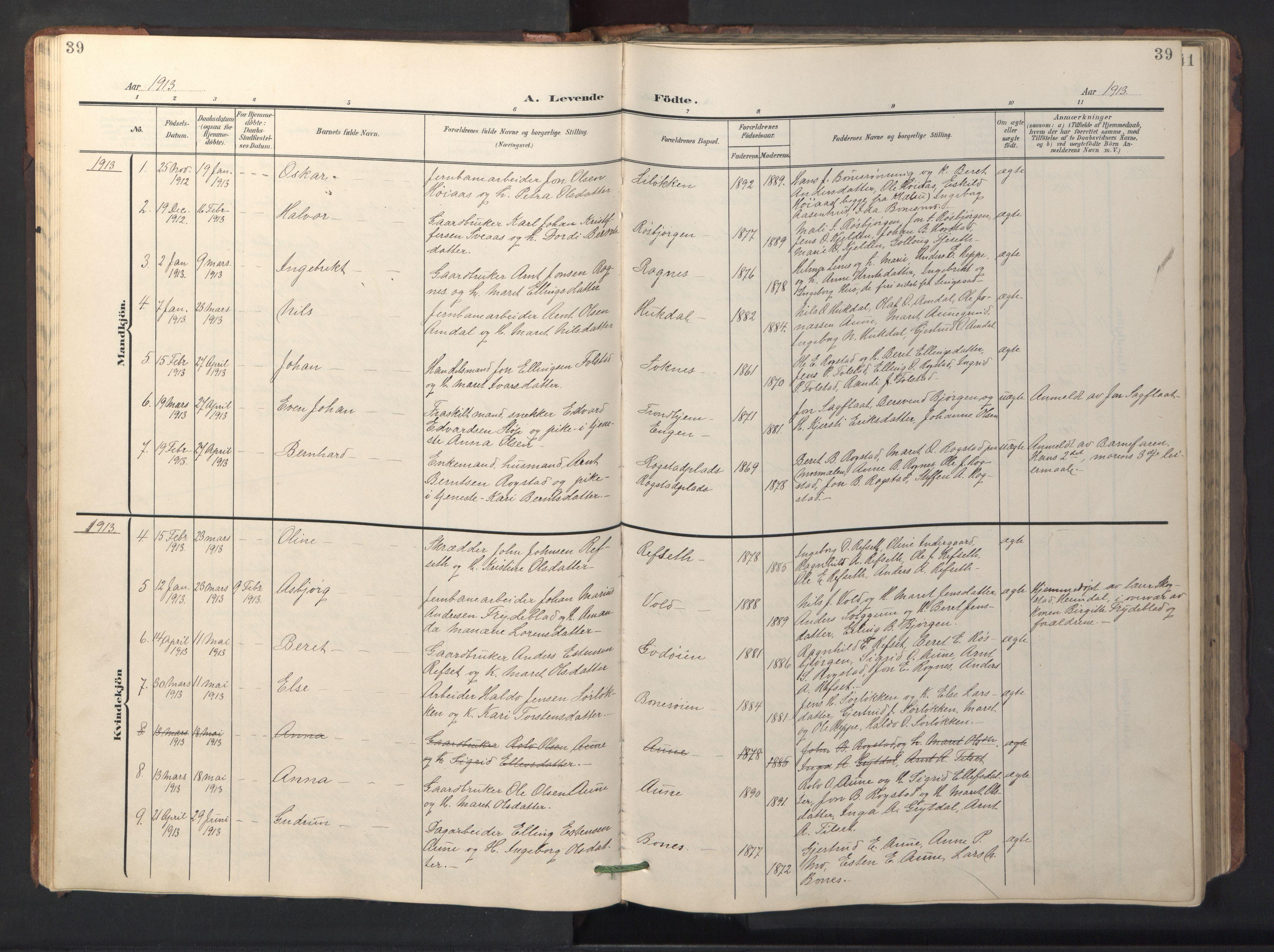 SAT, Ministerialprotokoller, klokkerbøker og fødselsregistre - Sør-Trøndelag, 687/L1019: Klokkerbok nr. 687C03, 1904-1931, s. 39