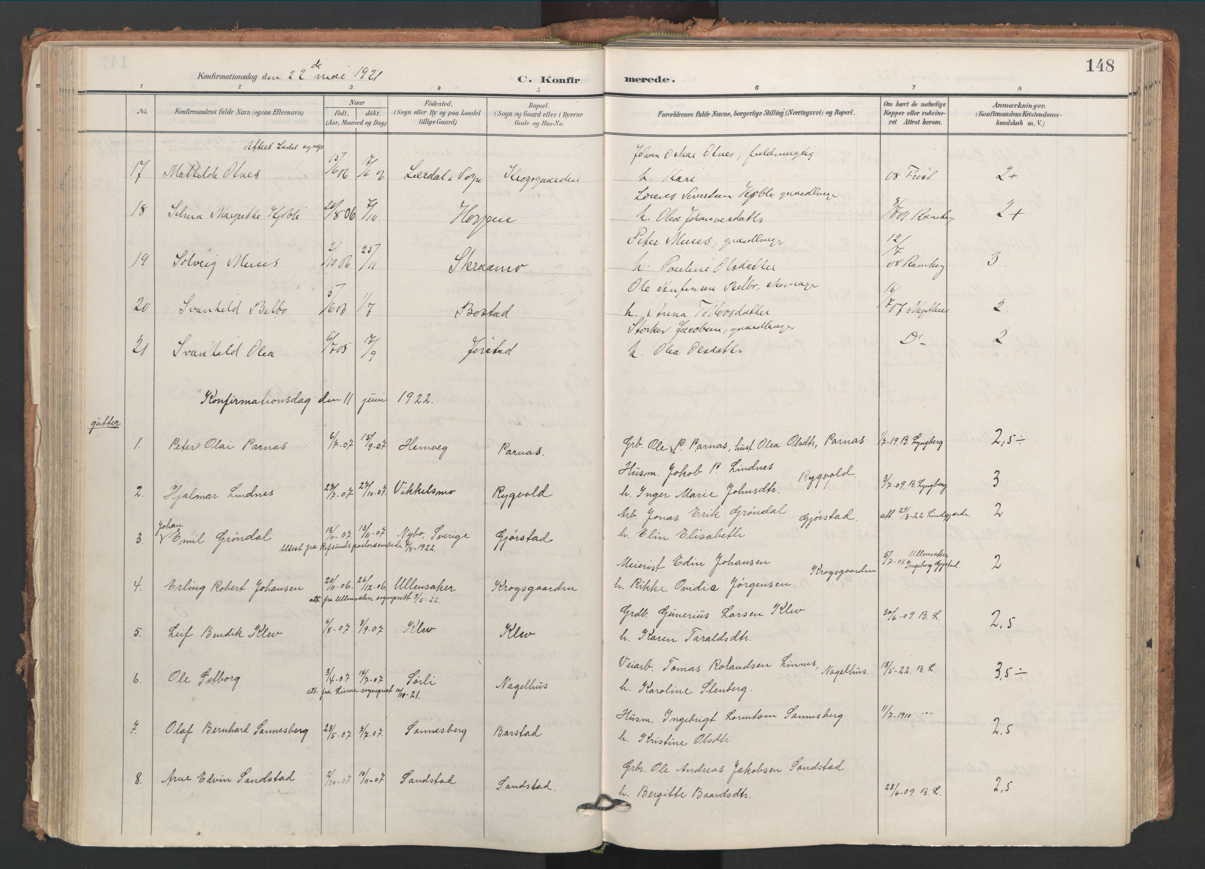 SAT, Ministerialprotokoller, klokkerbøker og fødselsregistre - Nord-Trøndelag, 749/L0477: Ministerialbok nr. 749A11, 1902-1927, s. 148