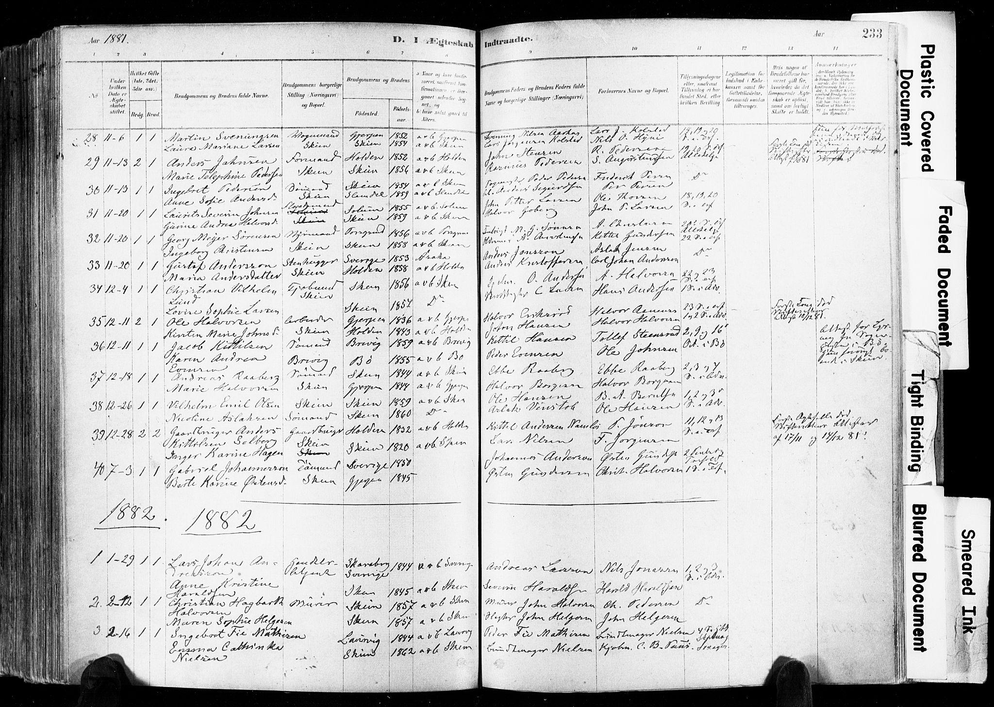 SAKO, Skien kirkebøker, F/Fa/L0009: Ministerialbok nr. 9, 1878-1890, s. 233